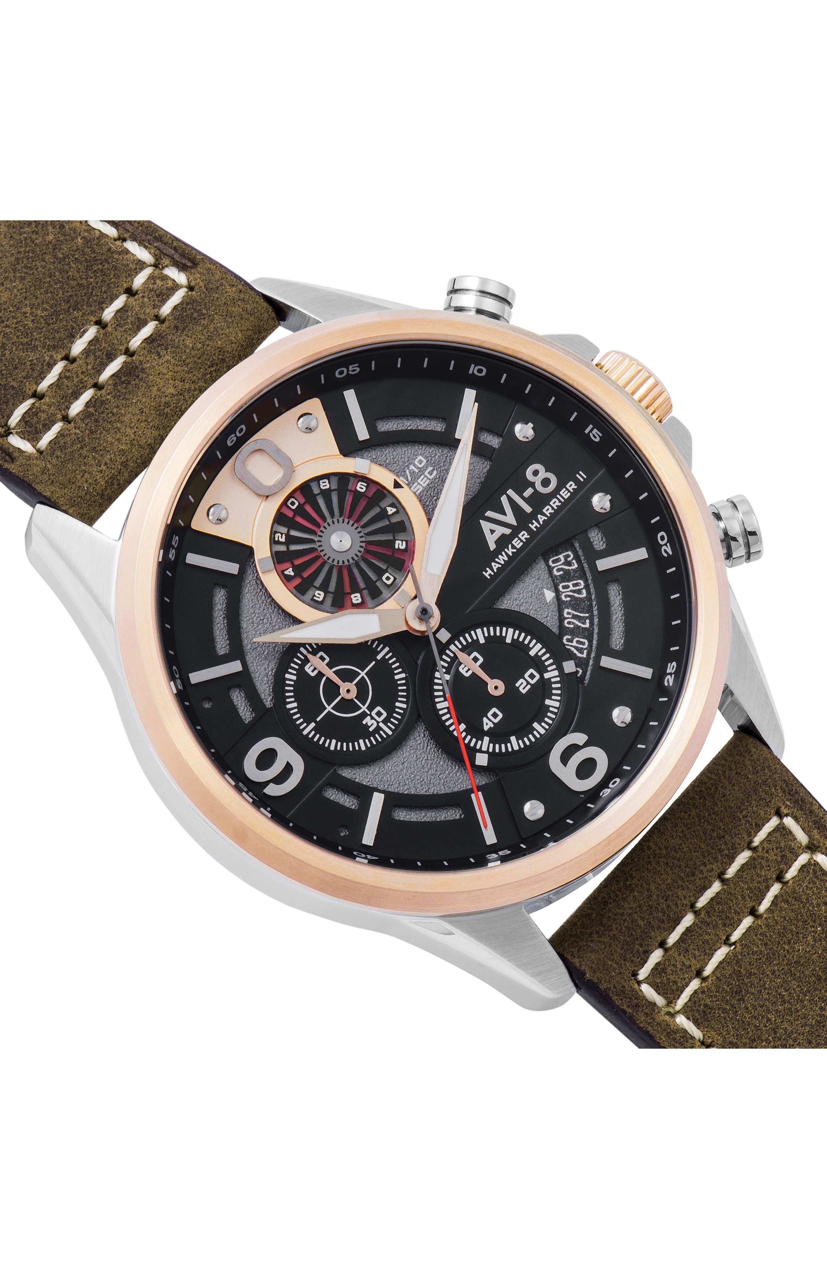 Hawker Harrier II Turbine Chronograph Leather Strap Watch, 45mm,                             Alternate thumbnail 3, color,                             201