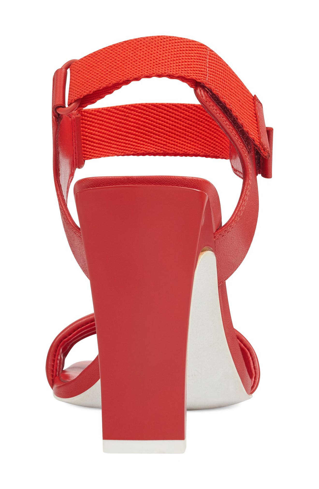 Zebree Sandal,                             Alternate thumbnail 6, color,                             RED LEATHER