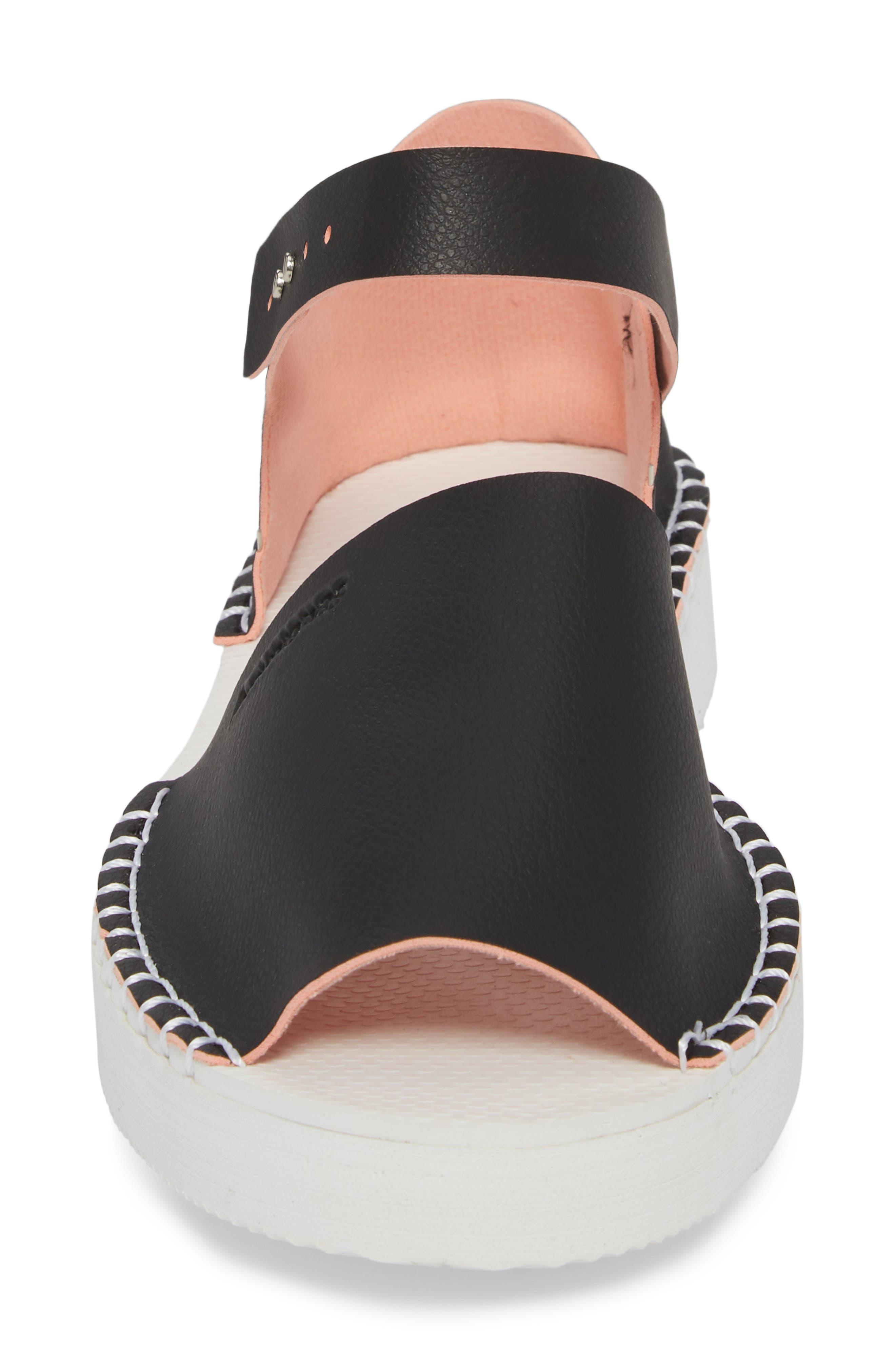 Flatform Fashion Sandal,                             Alternate thumbnail 4, color,                             BLACK/ PINK