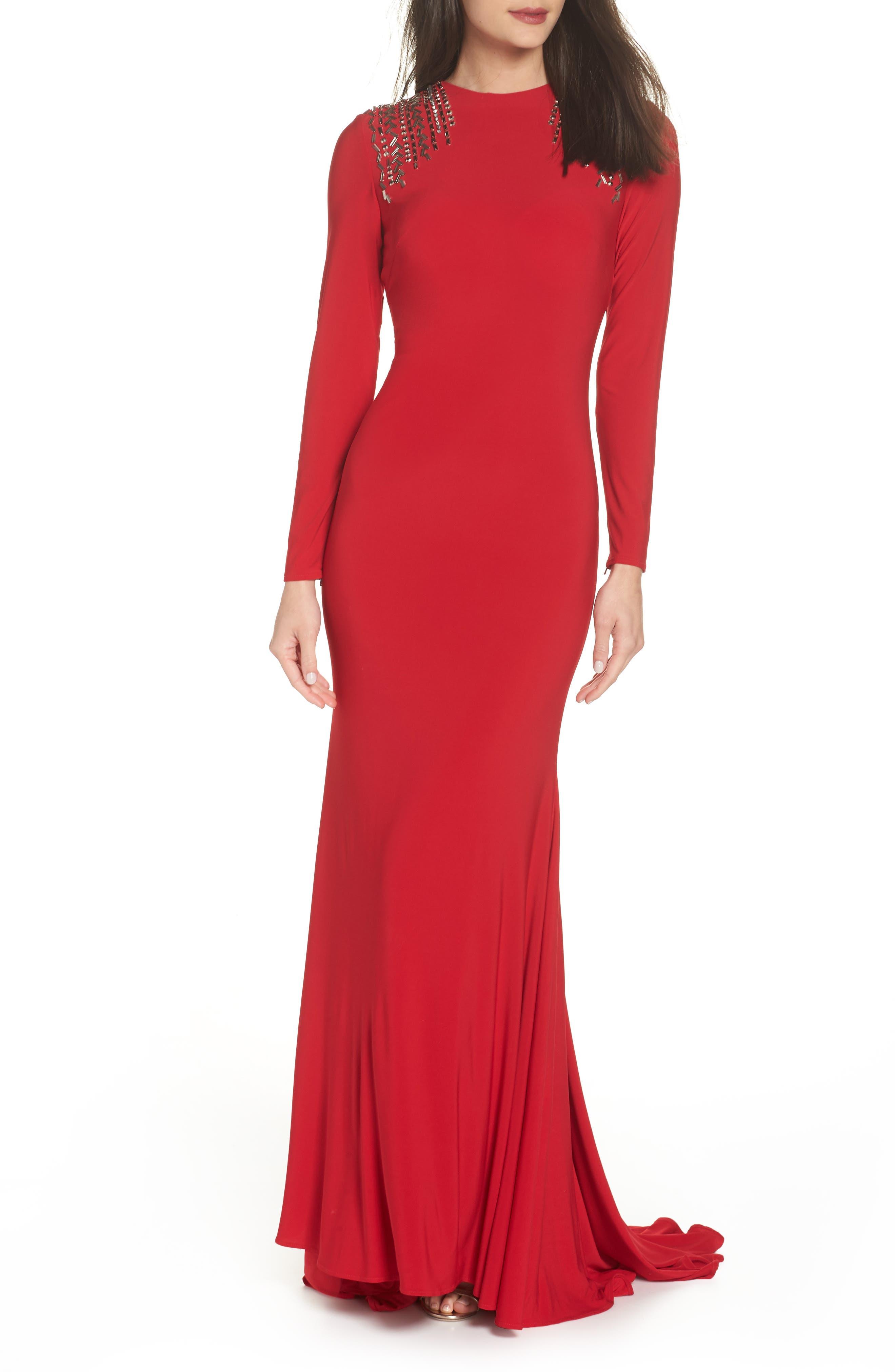 Mac Duggal Embellished Shoulder Jersey Gown,                             Alternate thumbnail 6, color,                             600