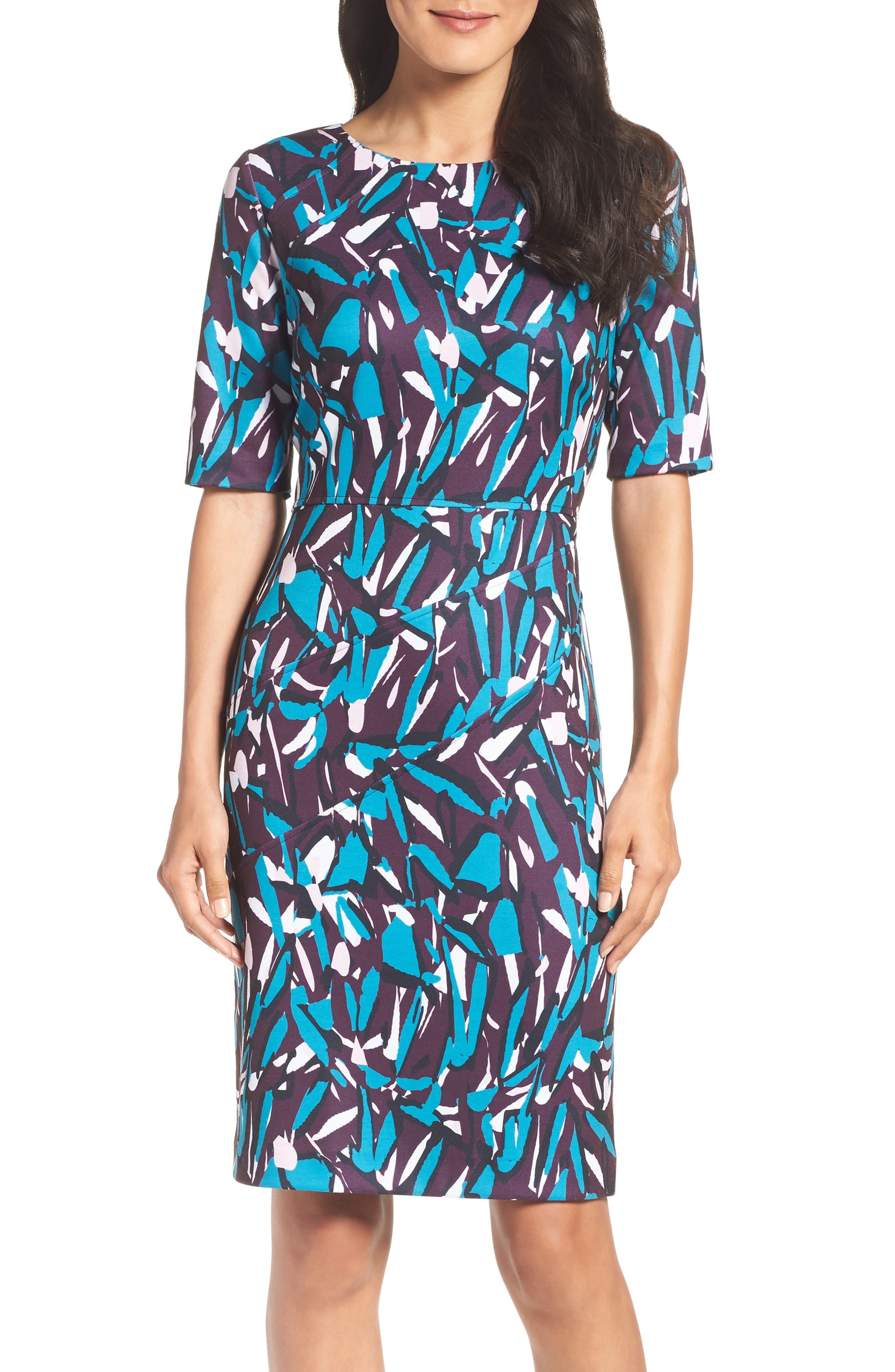 Ponte Pencil Dress,                             Alternate thumbnail 5, color,                             553