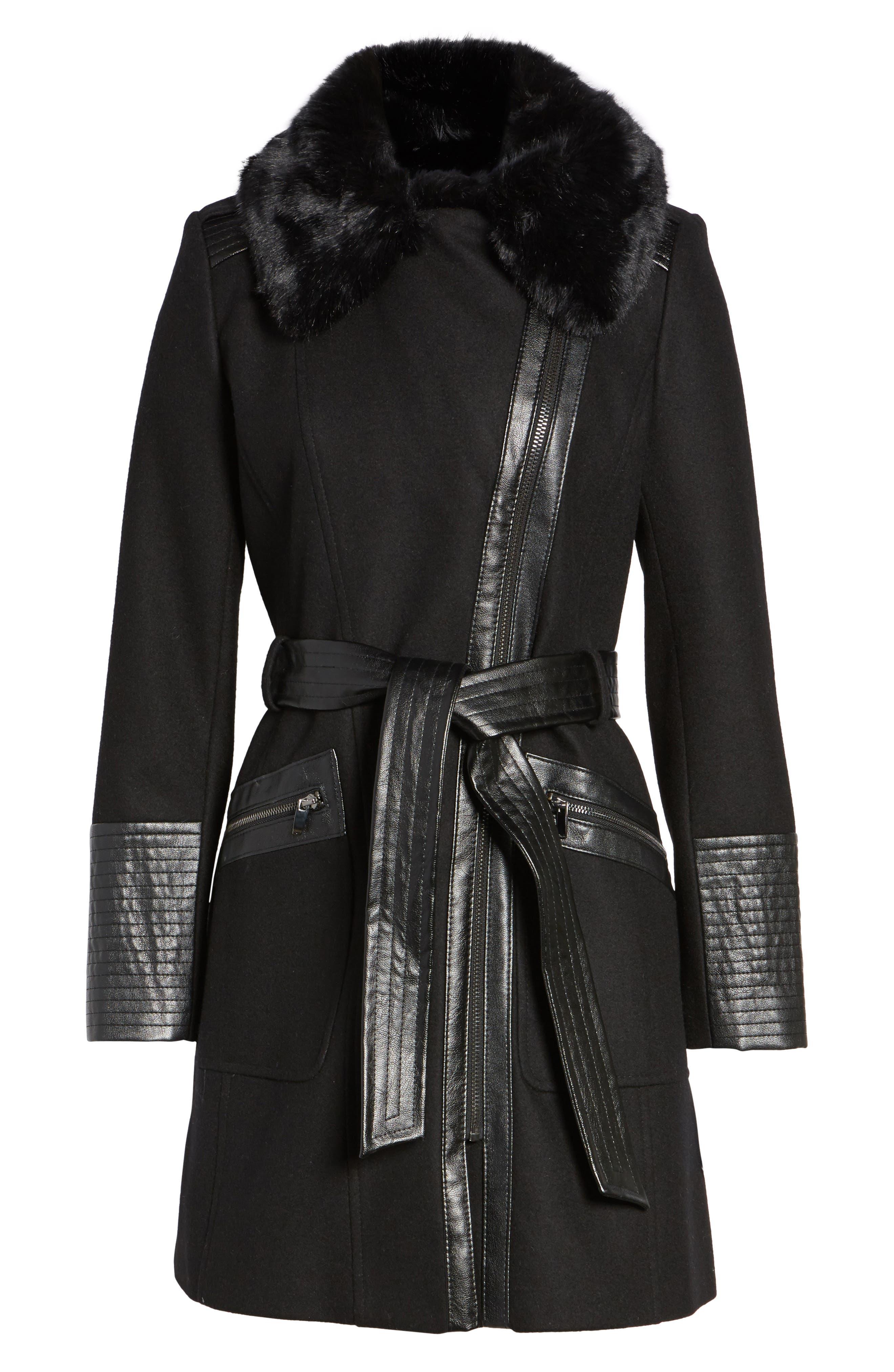 Faux Leather & Faux Fur Trim Belted Wool Blend Coat,                             Alternate thumbnail 39, color,