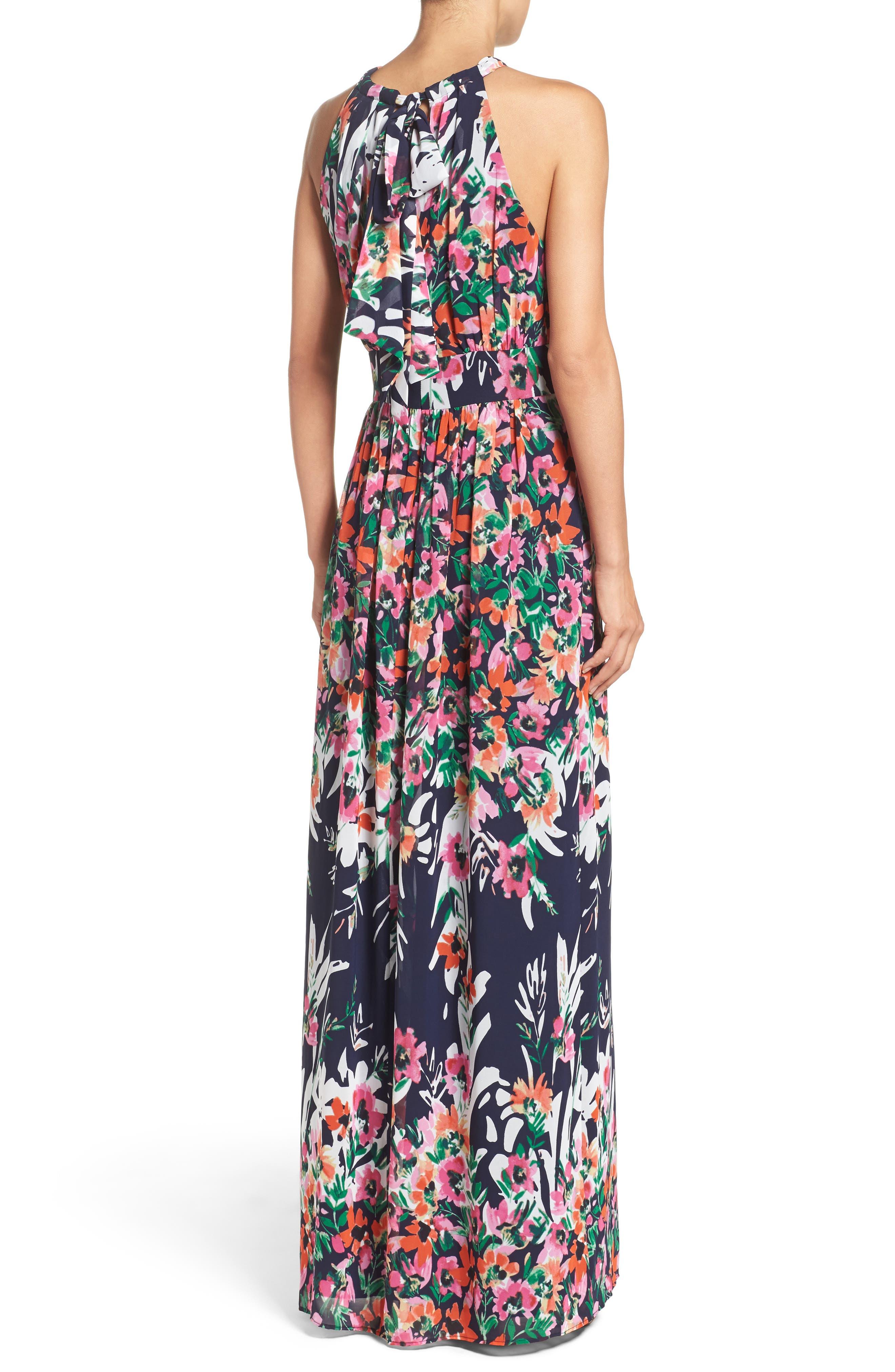 Print Chiffon Halter Maxi Dress,                             Alternate thumbnail 2, color,