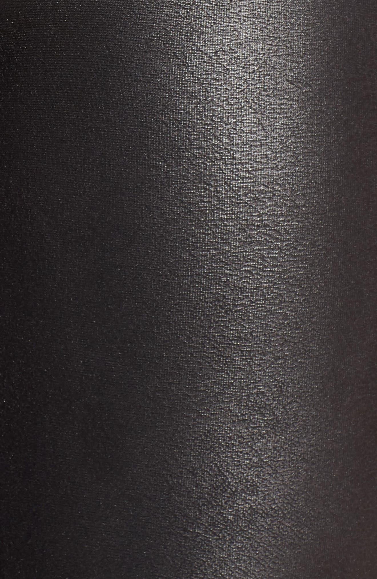 Side Stripe Faux Leather Leggings,                             Alternate thumbnail 5, color,                             VERY BLACK/ WHT