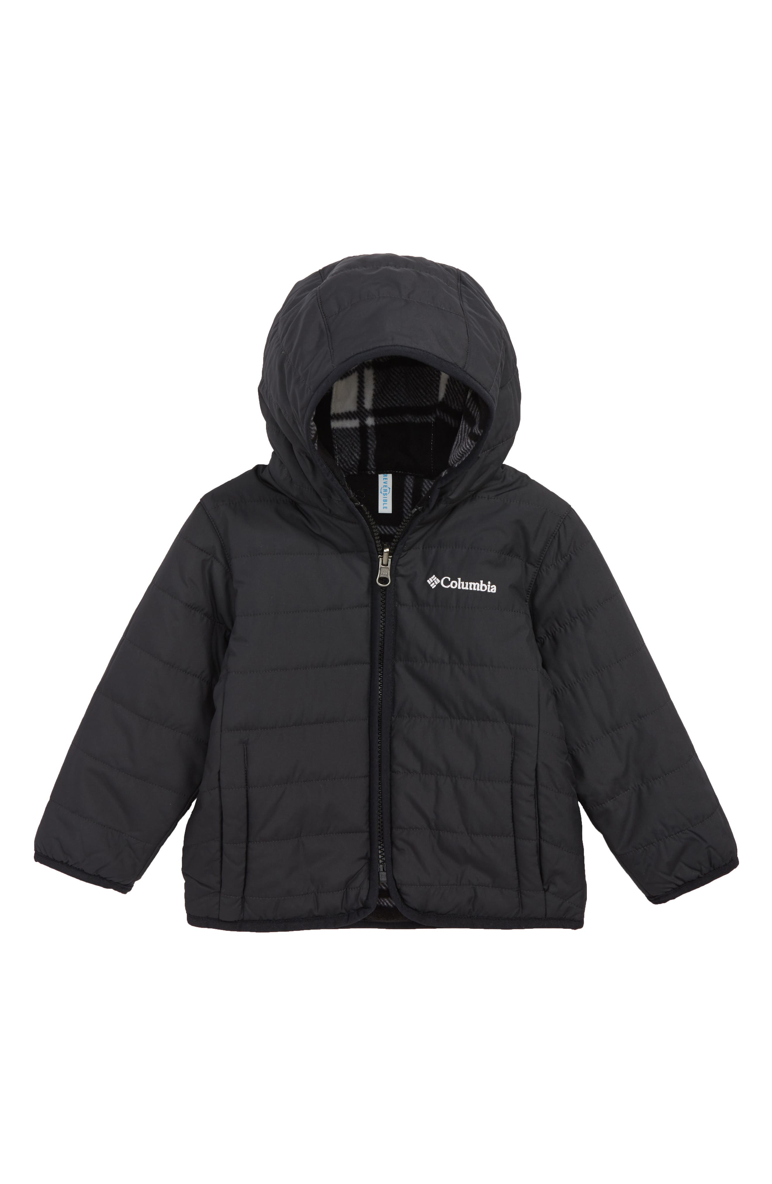 Double Trouble Omni-Shield Reversible Water-Resistant Hooded Jacket,                         Main,                         color, BLACK