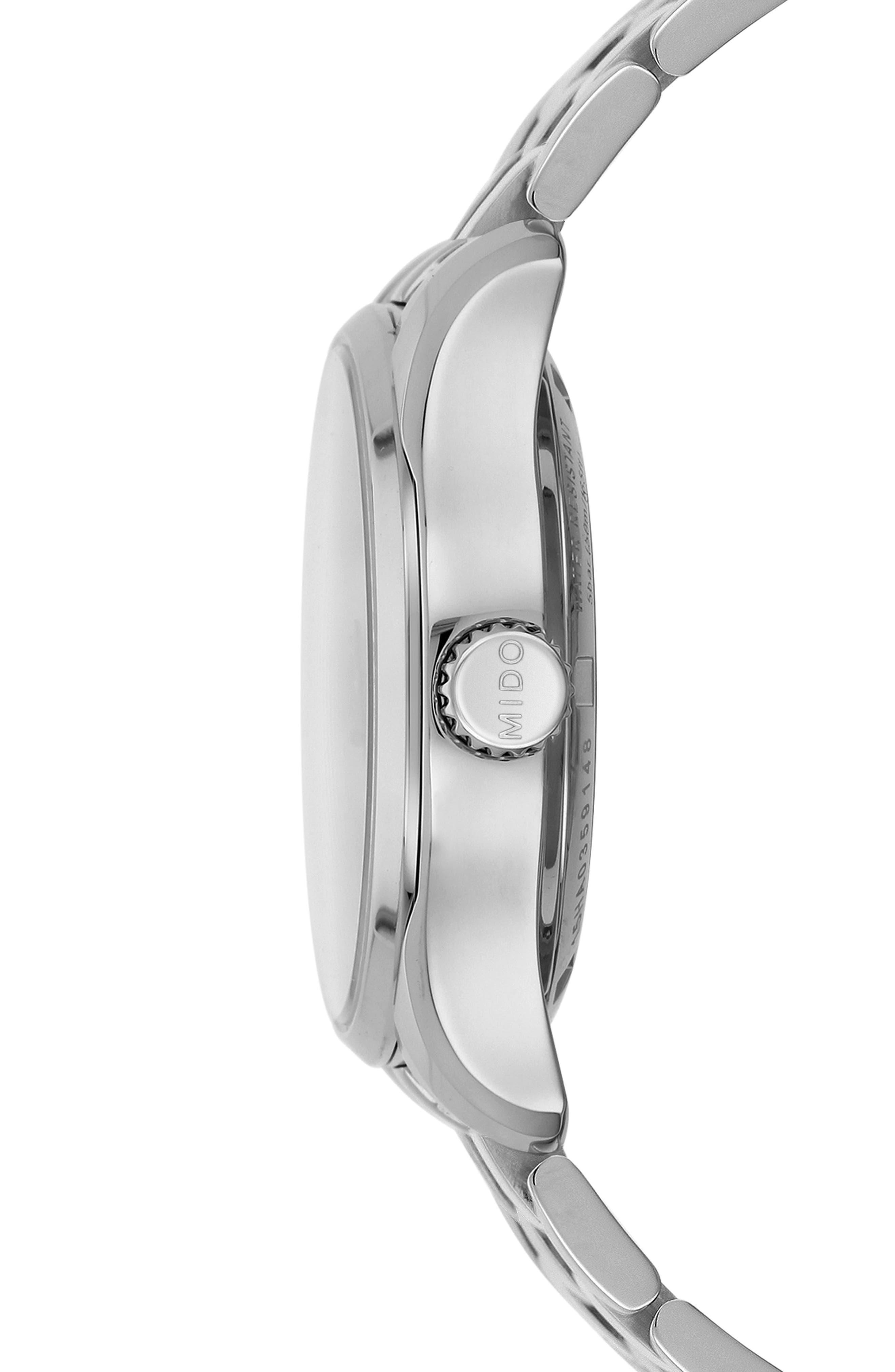 Belluna II Bracelet Watch, 33mm,                             Alternate thumbnail 3, color,                             SILVER/ MOP/ SILVER