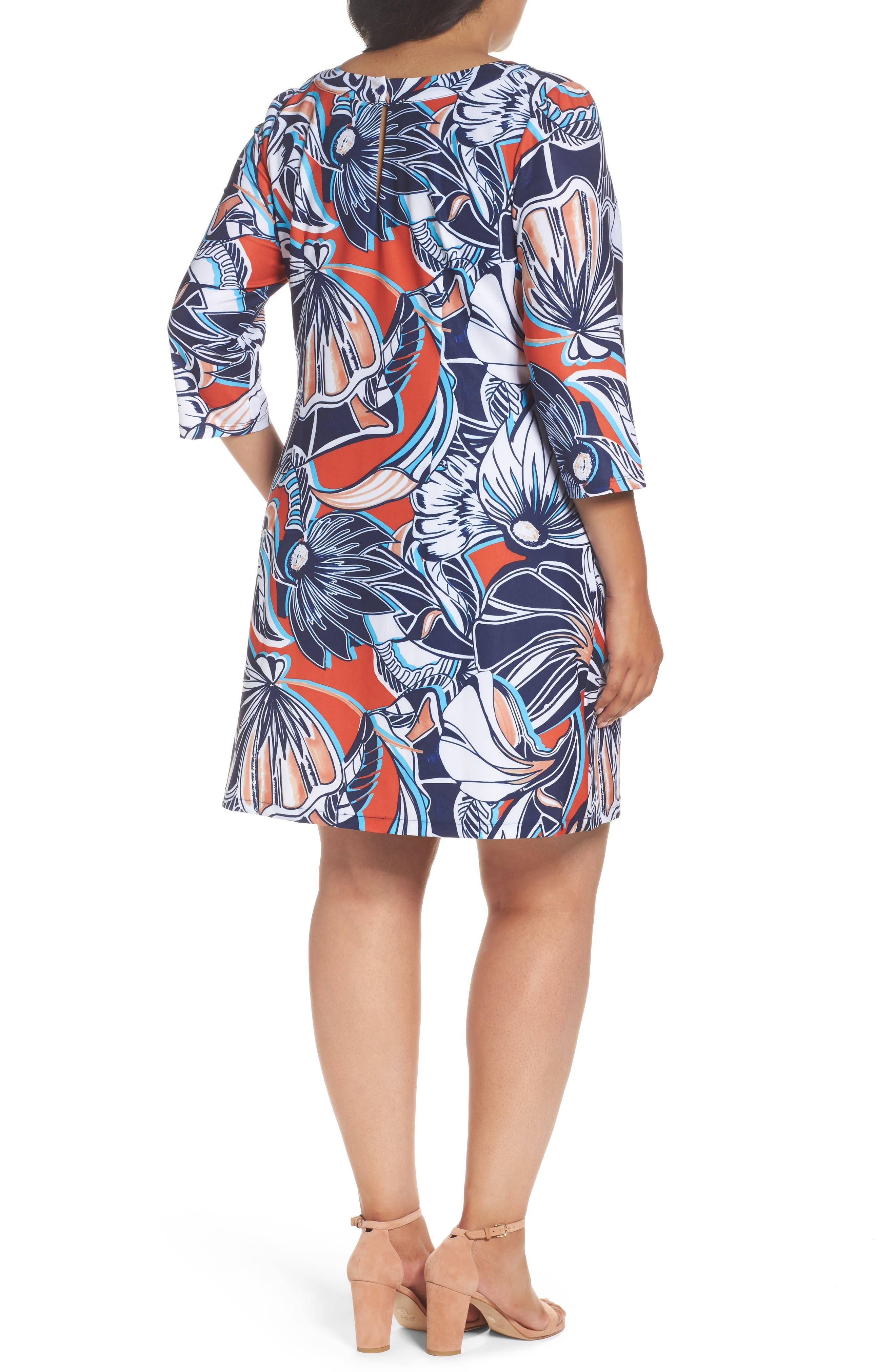 Floral A-Line Shift Dress,                             Alternate thumbnail 2, color,                             649