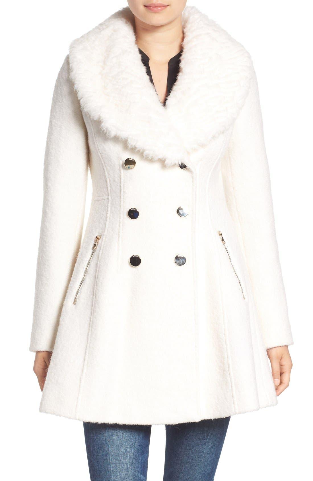 Bouclé Fit & Flare Coat with Faux Fur Collar,                             Main thumbnail 2, color,