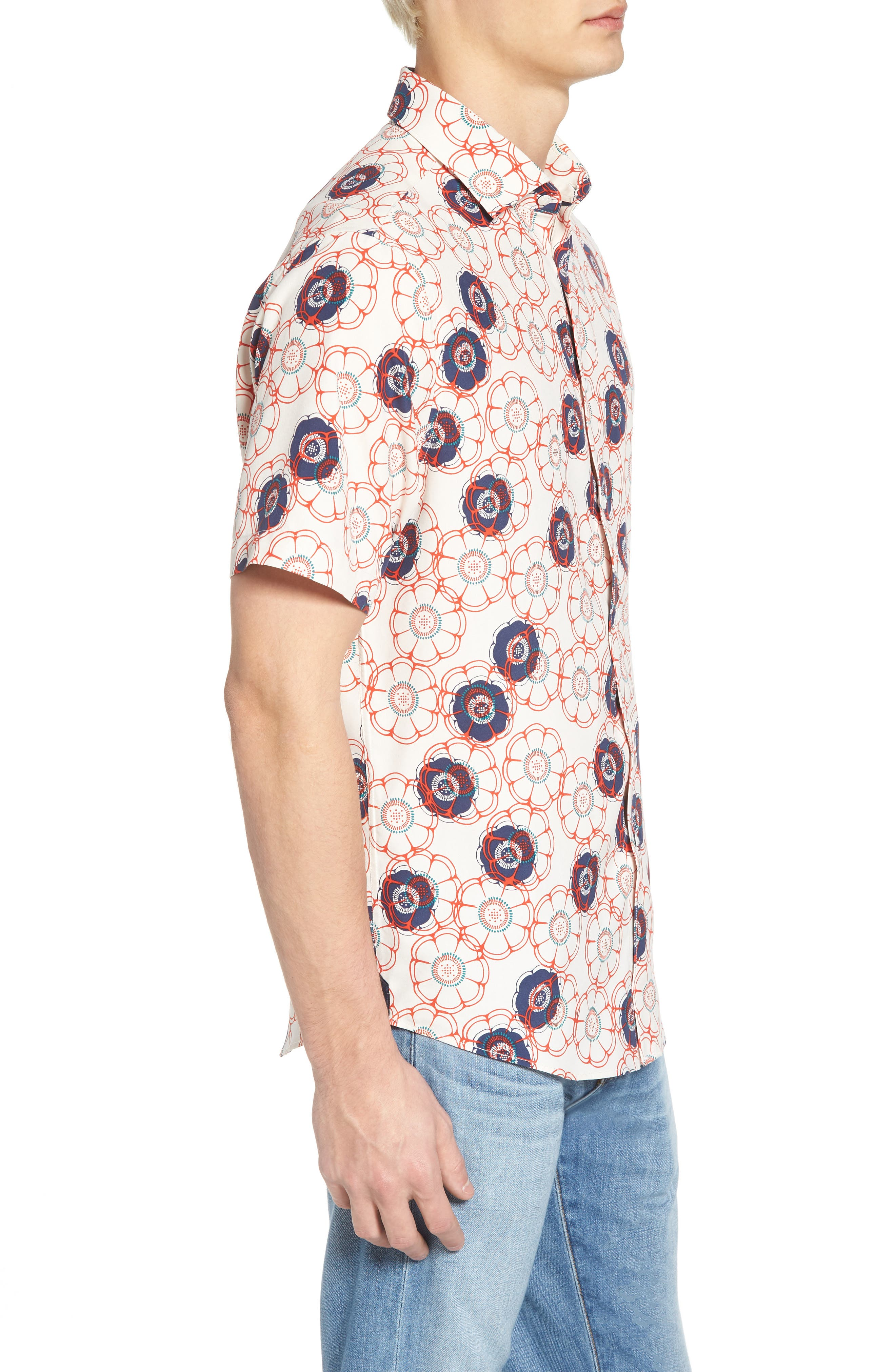 Tailor Fit Floral Print Silk Shirt,                             Alternate thumbnail 3, color,                             CANVAS/ RED CORAL