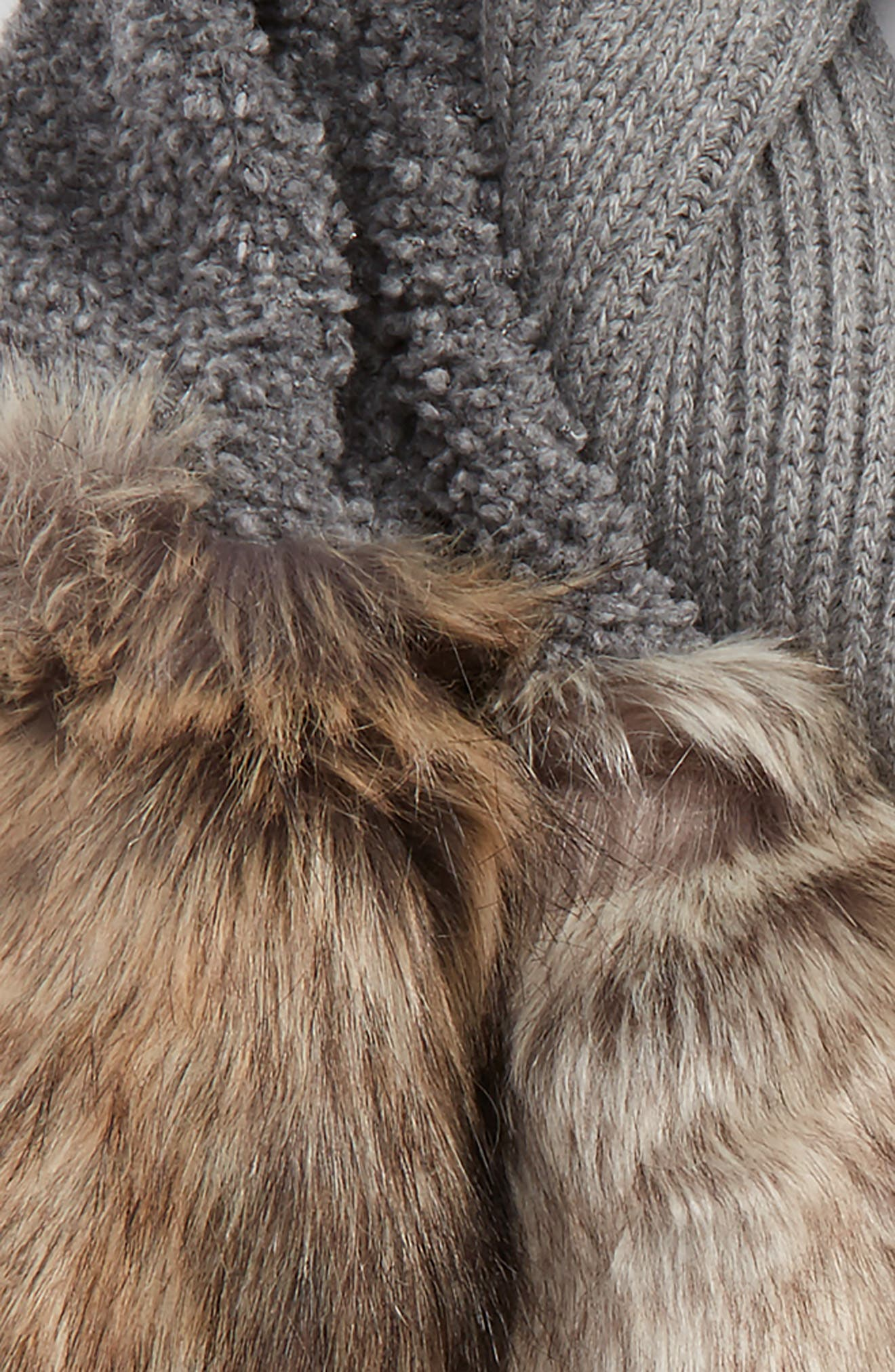 Wool Scarf with Faux Fur Panels,                             Alternate thumbnail 3, color,                             020