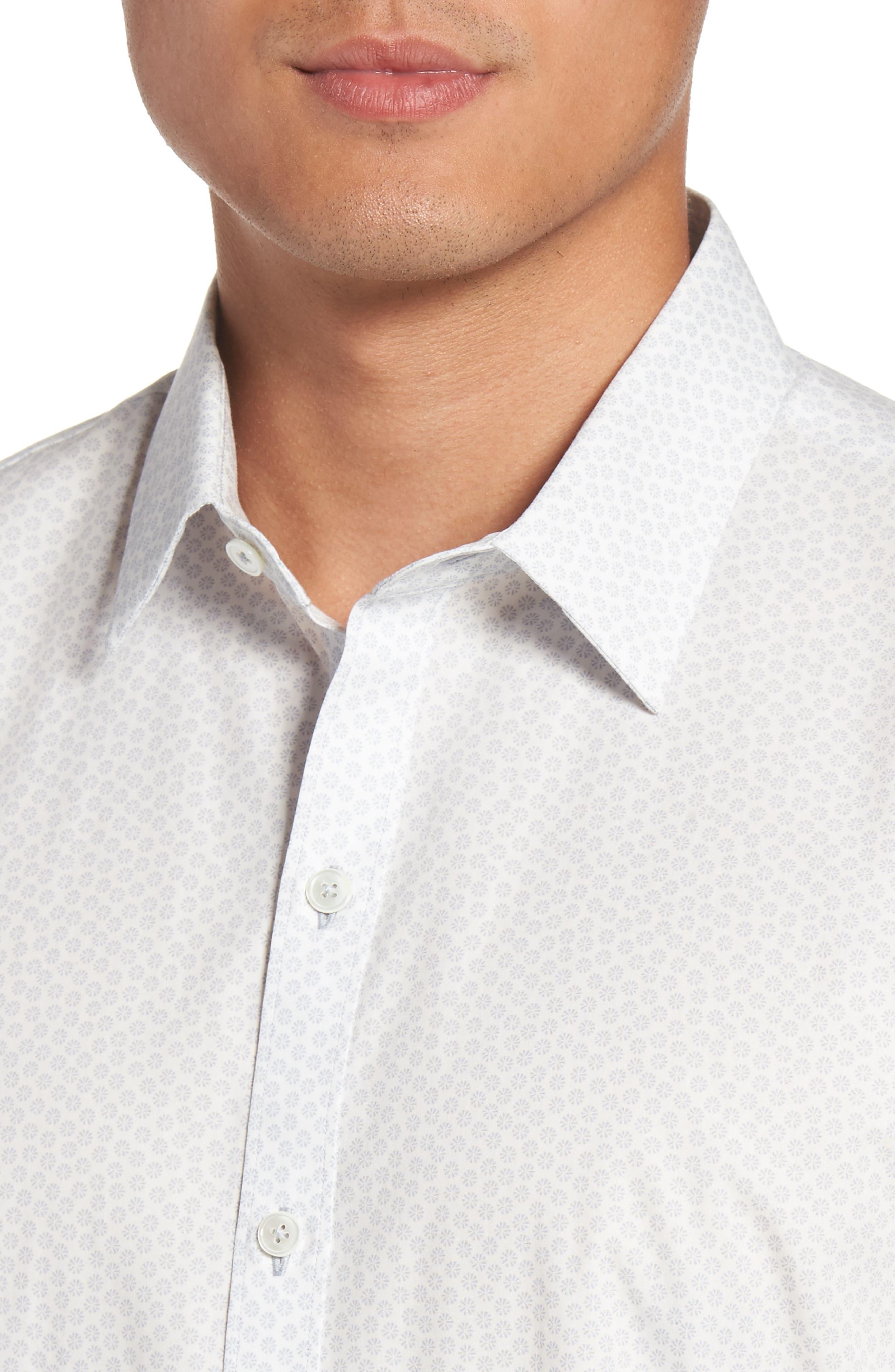 Owens Slim Fit Print Sport Shirt,                             Alternate thumbnail 4, color,                             100