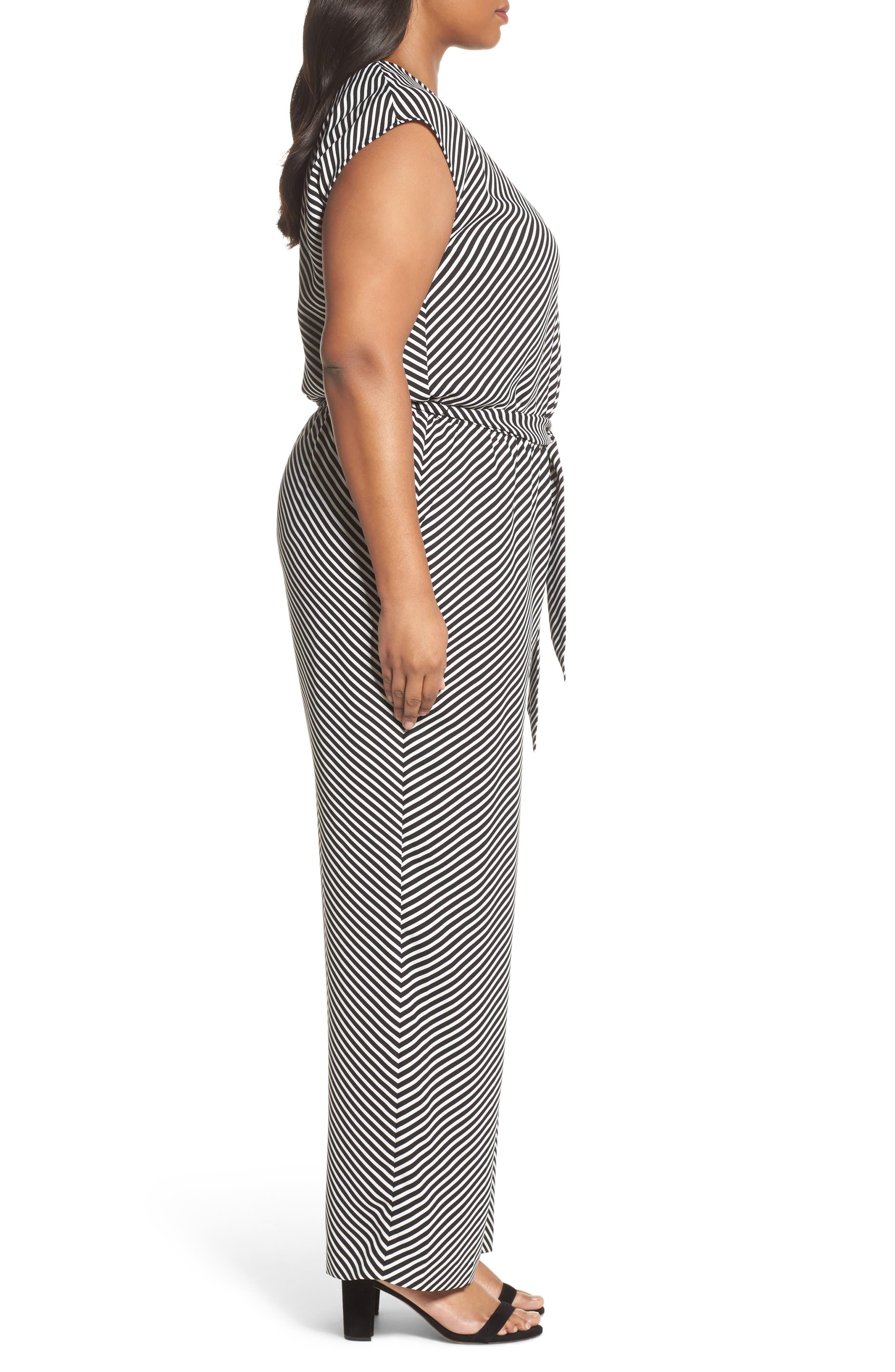 Diagonal Stripe Belted Jumpsuit,                             Alternate thumbnail 3, color,                             006