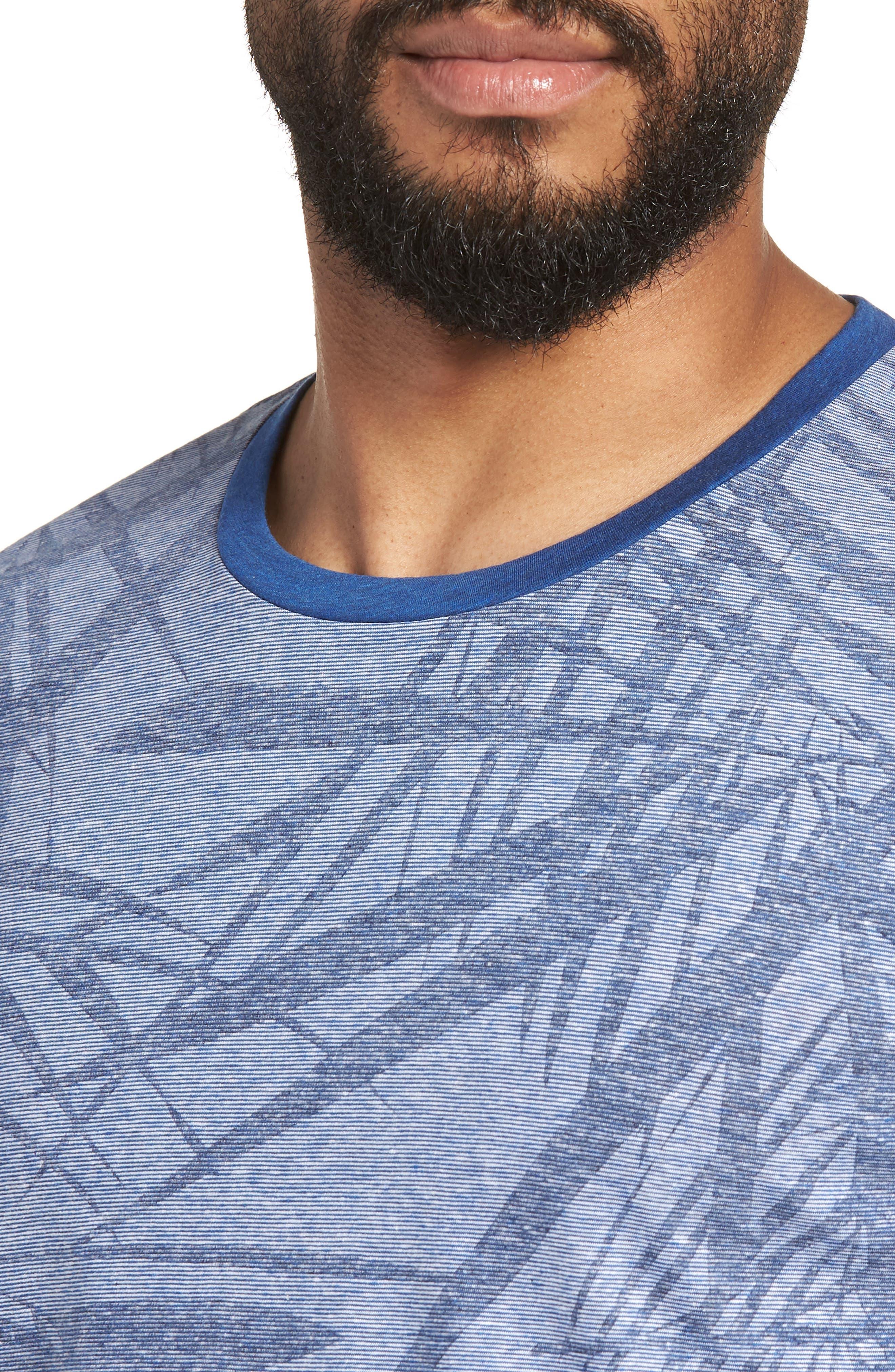 Tessler Slim Fit Palm Print T-Shirt,                             Alternate thumbnail 4, color,                             429
