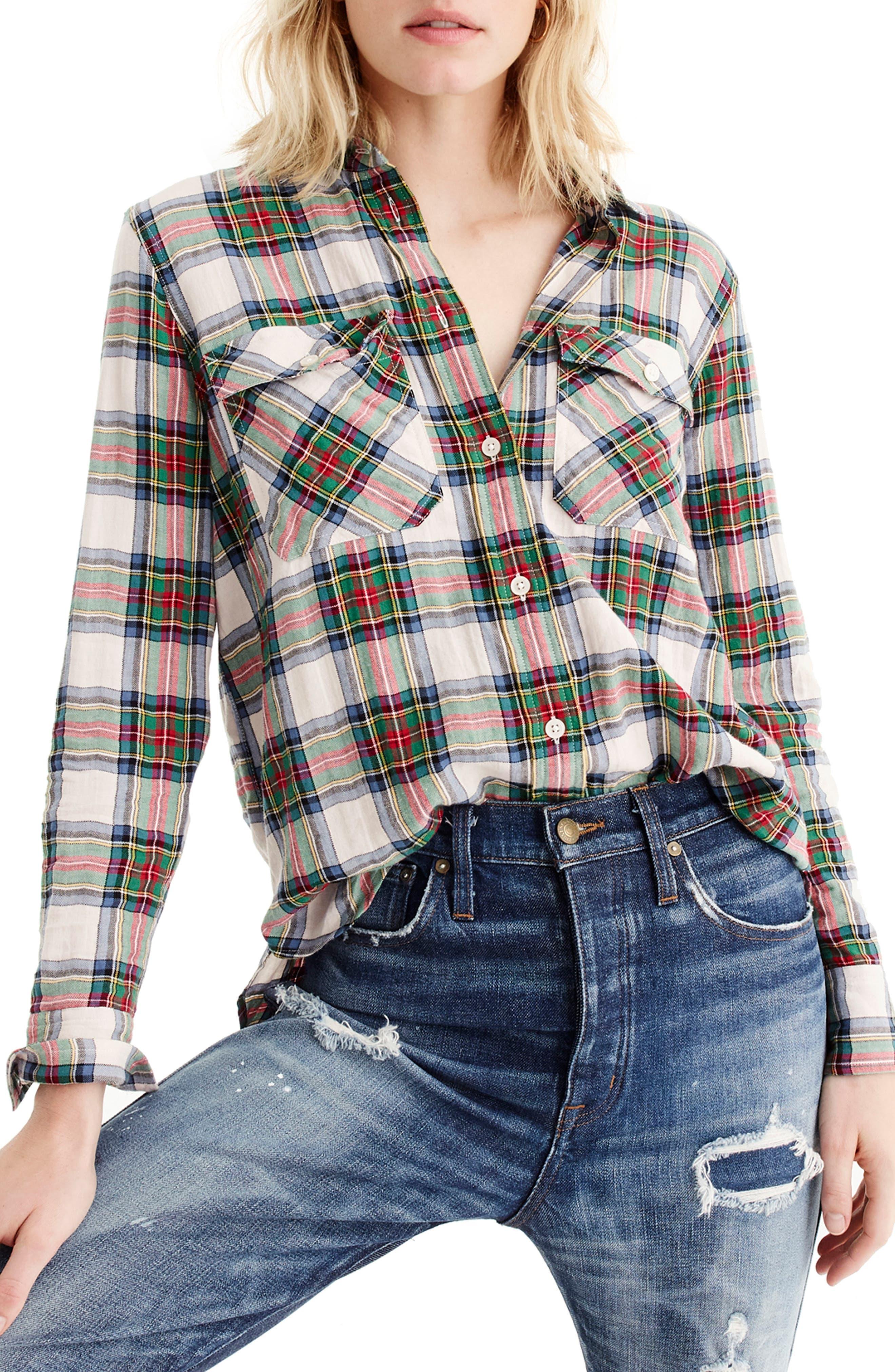 J.crew Stewart Tartan Oversize Button-Up Shirt