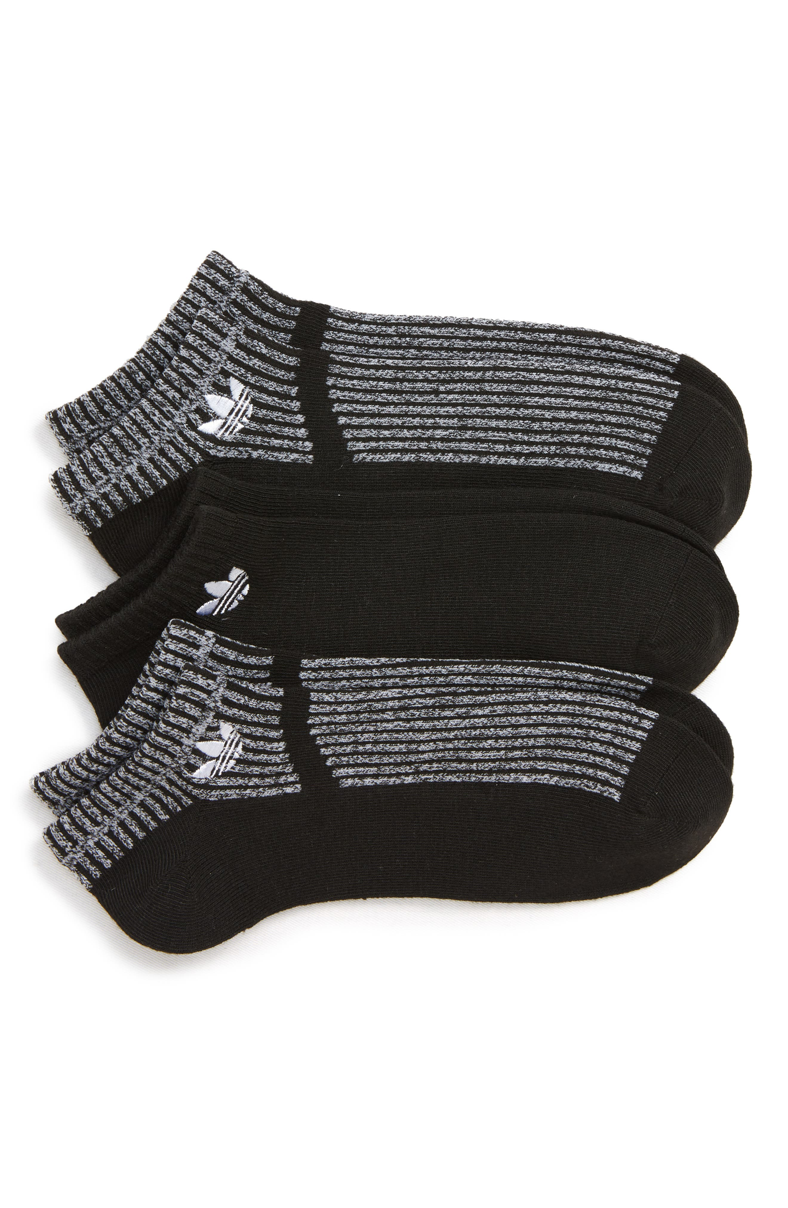 adidas Original Prime Mesh III 3-Pack Socks,                             Main thumbnail 1, color,                             BLACK/ WHITE MARL
