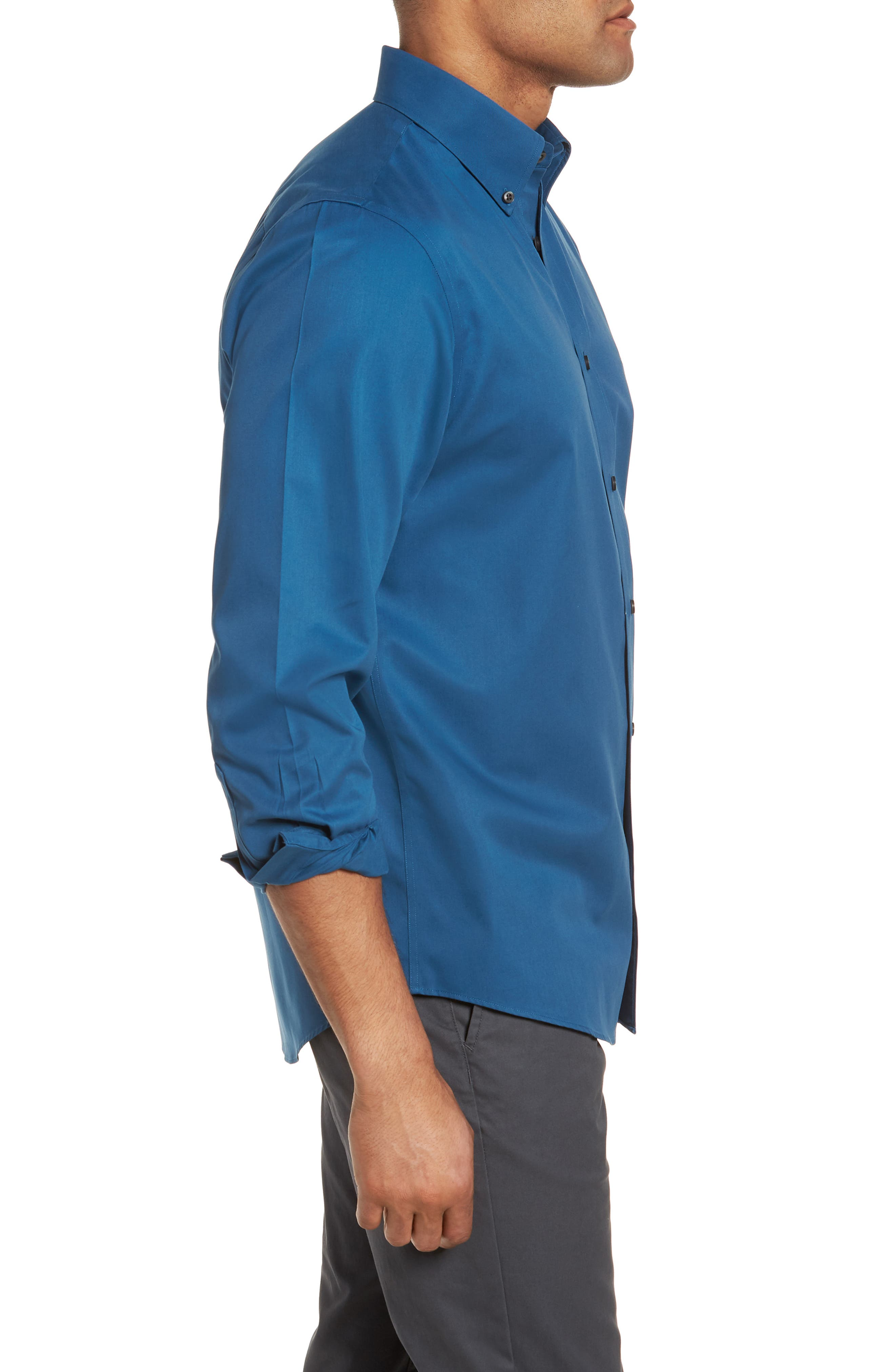 Smartcare<sup>™</sup> Traditional Fit Twill Boat Shirt,                             Alternate thumbnail 3, color,                             BLUE DARK