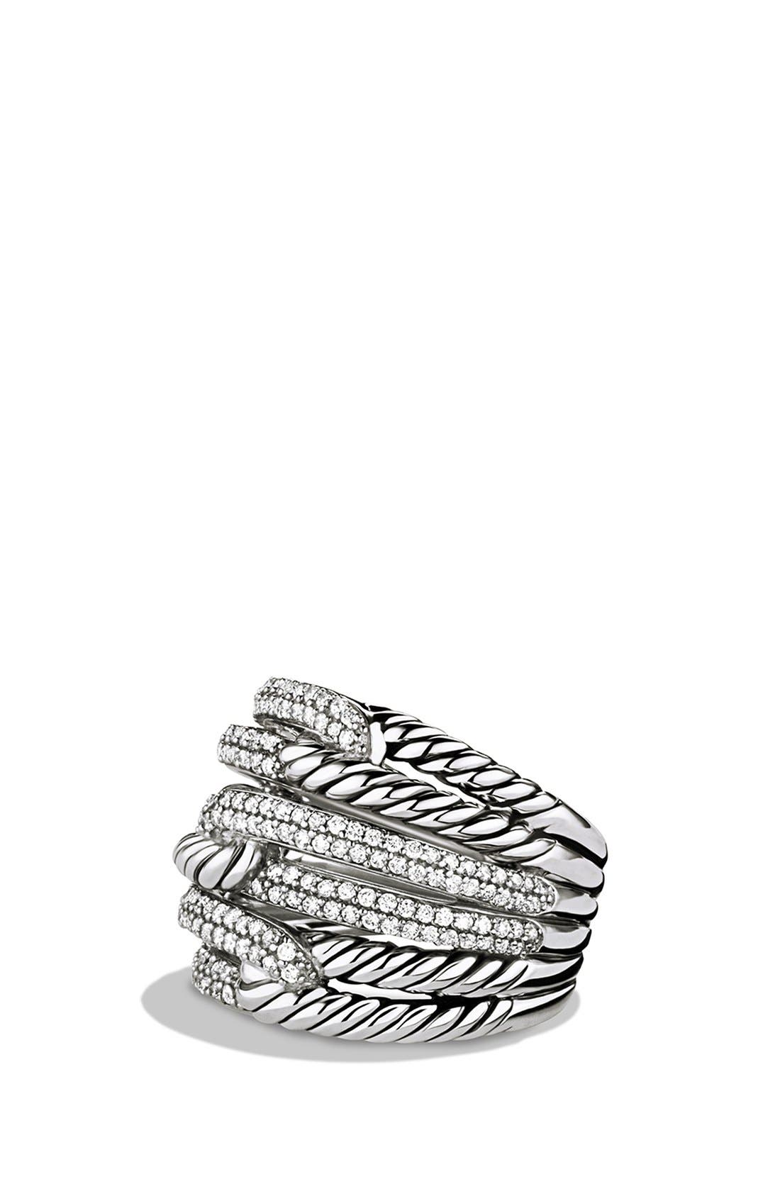 'Labyrinth' Triple-Loop Ring with Diamonds,                         Main,                         color, DIAMOND