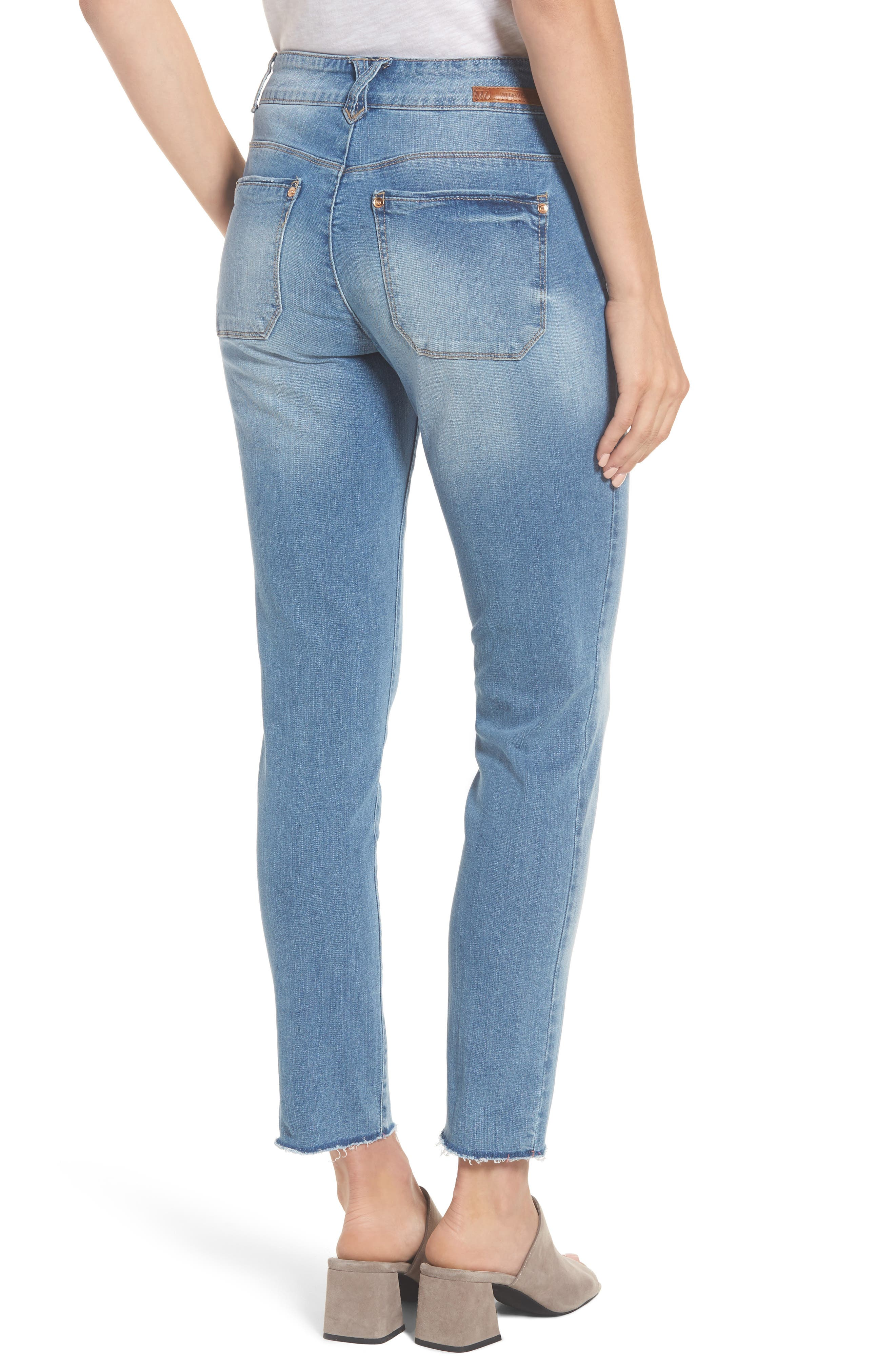 Two-Button High Waist Skinny Jeans,                             Alternate thumbnail 4, color,