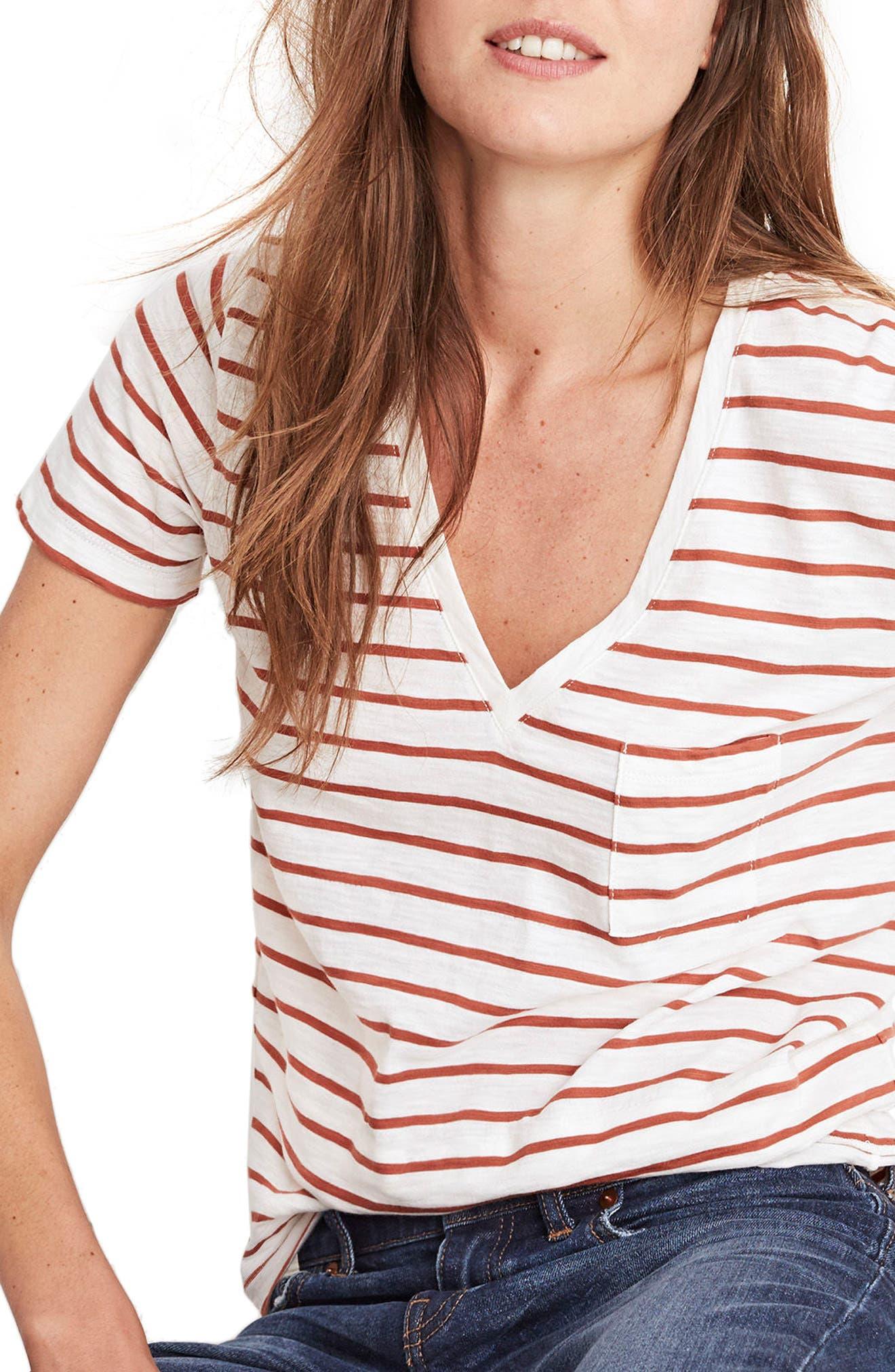 Whisper Cotton Stripe V-Neck Tee,                             Main thumbnail 1, color,                             100
