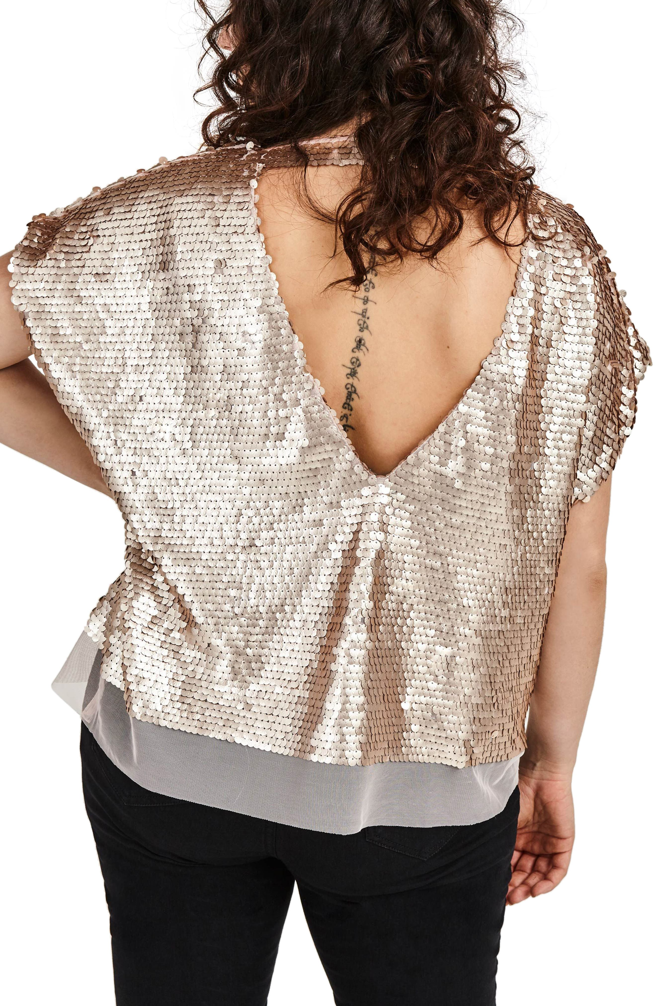 Nude Sequin Boxy Top,                             Alternate thumbnail 2, color,                             250