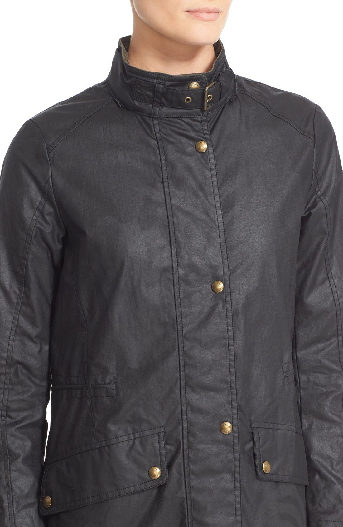 Wembury Waxed Cotton Jacket,                             Alternate thumbnail 6, color,                             001