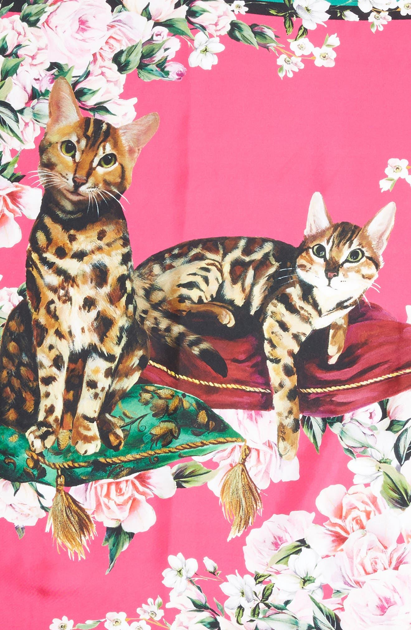 DOLCE&GABBANA,                             Floral Cat Print Silk Scarf,                             Alternate thumbnail 2, color,                             660