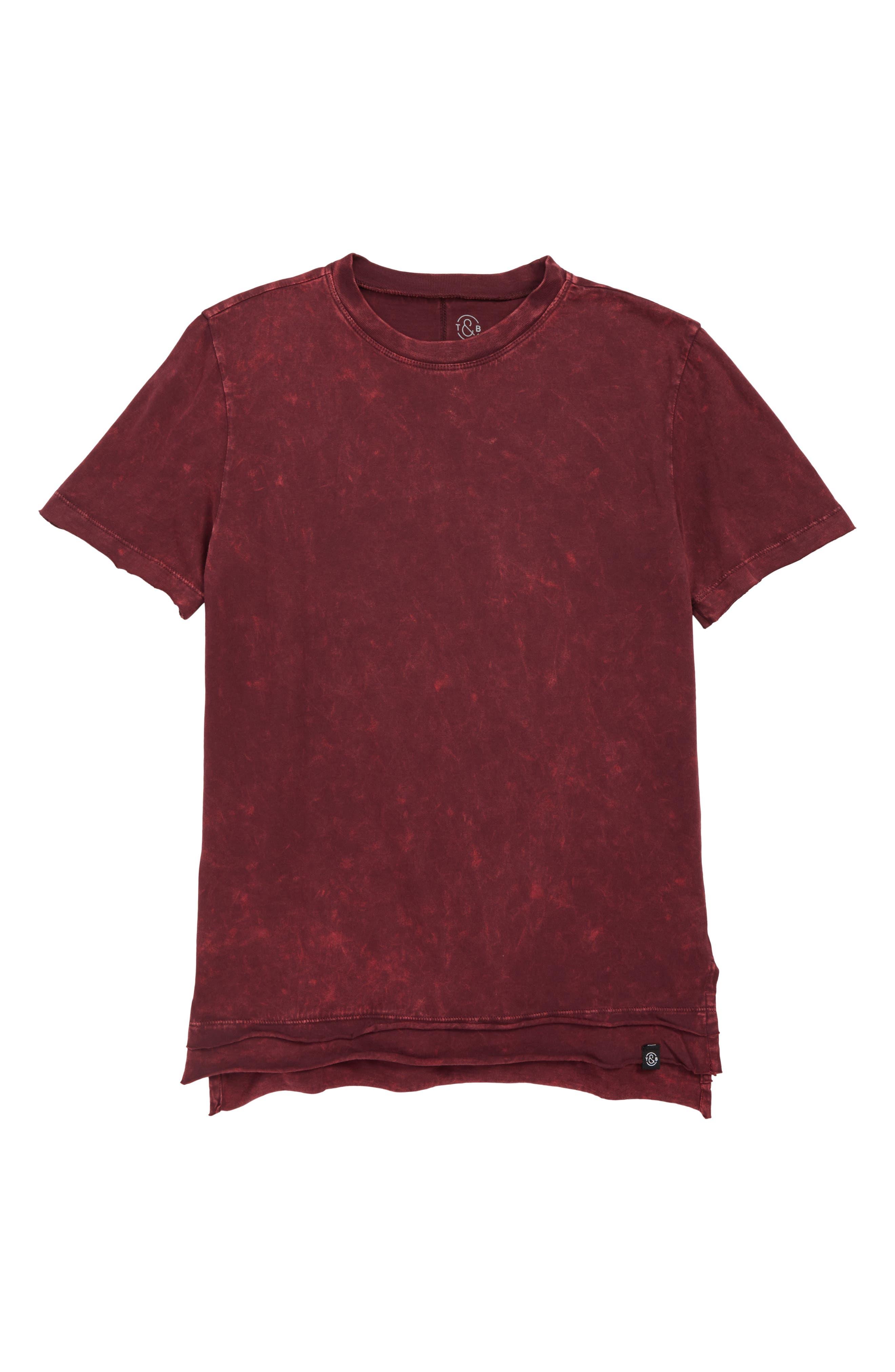 Rolled Step Hem T-Shirt,                         Main,                         color, RED TANNIN