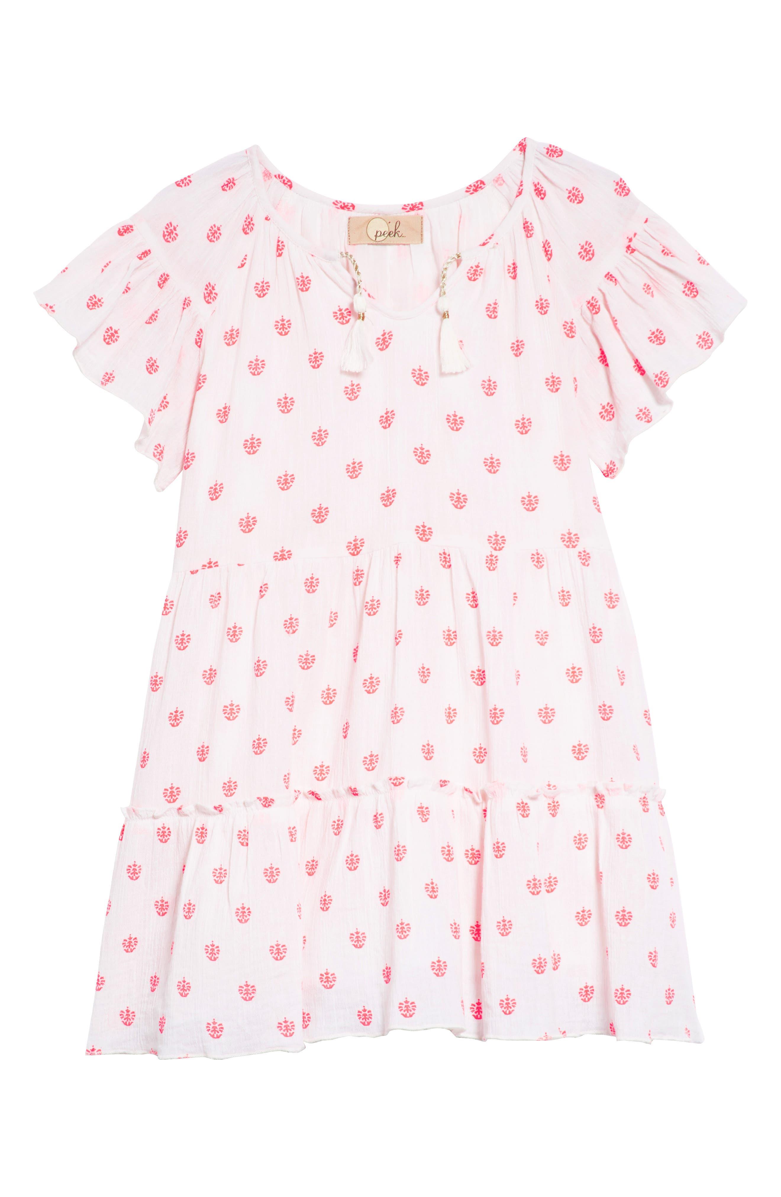 Abby Ruffle Cotton Dress,                             Main thumbnail 1, color,                             100