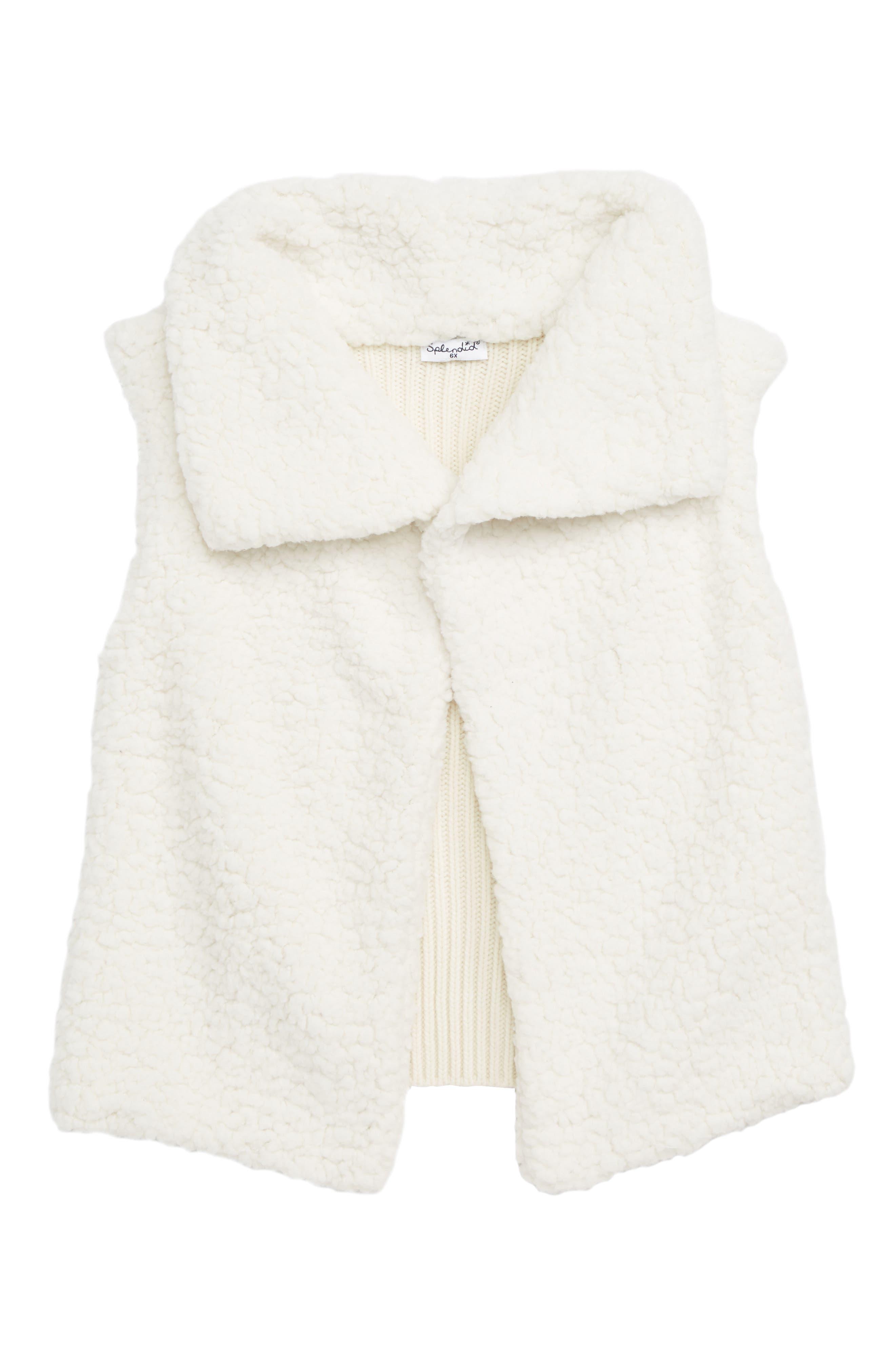 Faux Shearling Vest,                         Main,                         color, OFF WHITE