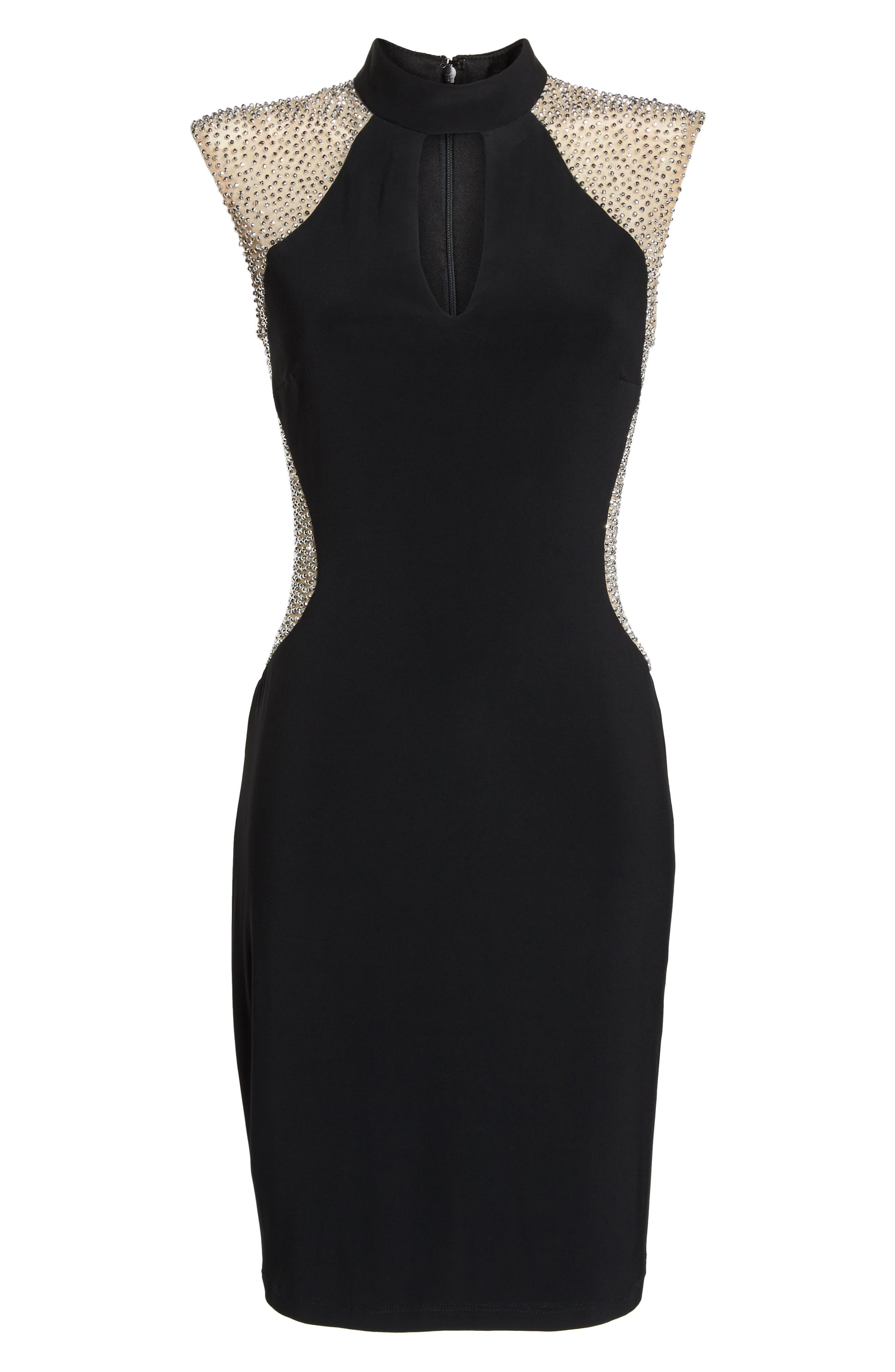Caviar Beaded Keyhole Dress,                             Alternate thumbnail 7, color,                             BLACK/ NUDE/ SILVER