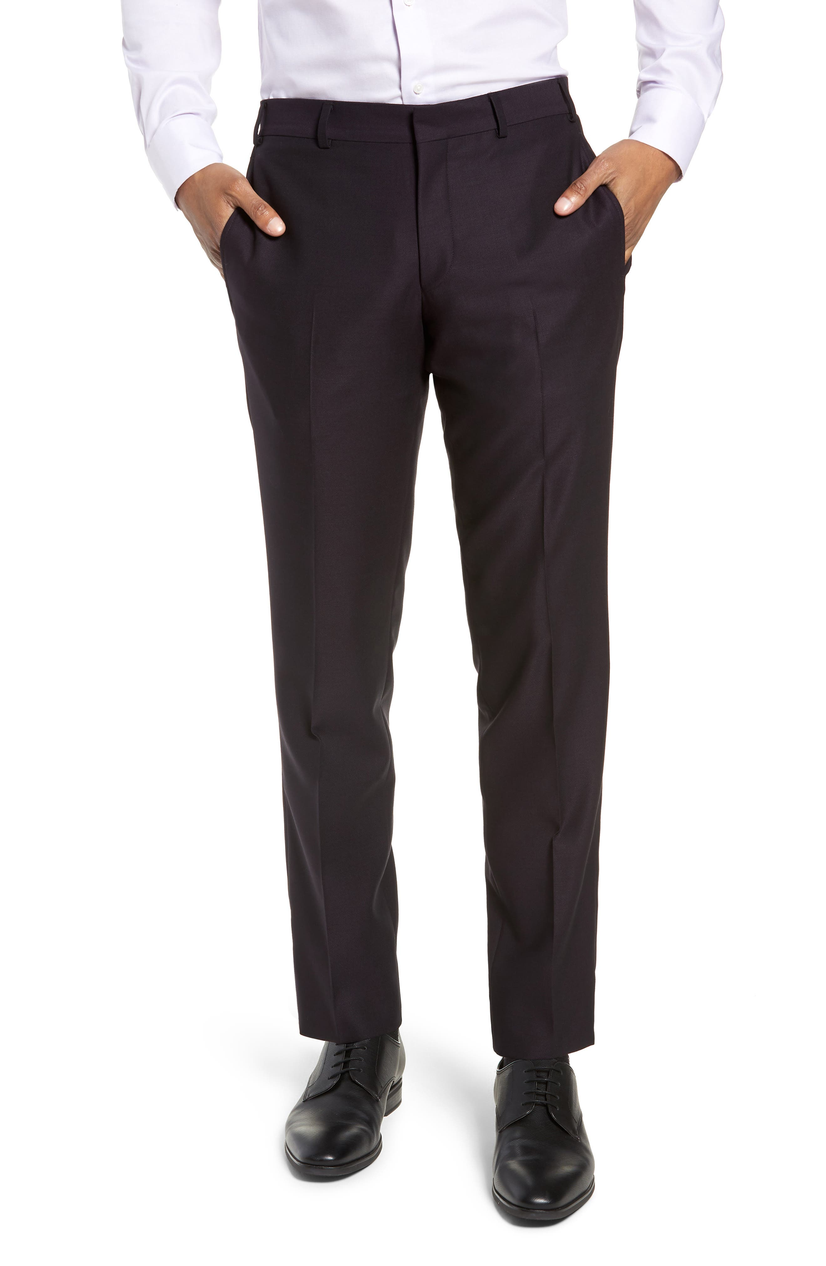 Roger Extra Trim Fit Solid Wool Suit,                             Alternate thumbnail 6, color,                             DEEP EGGPLANT