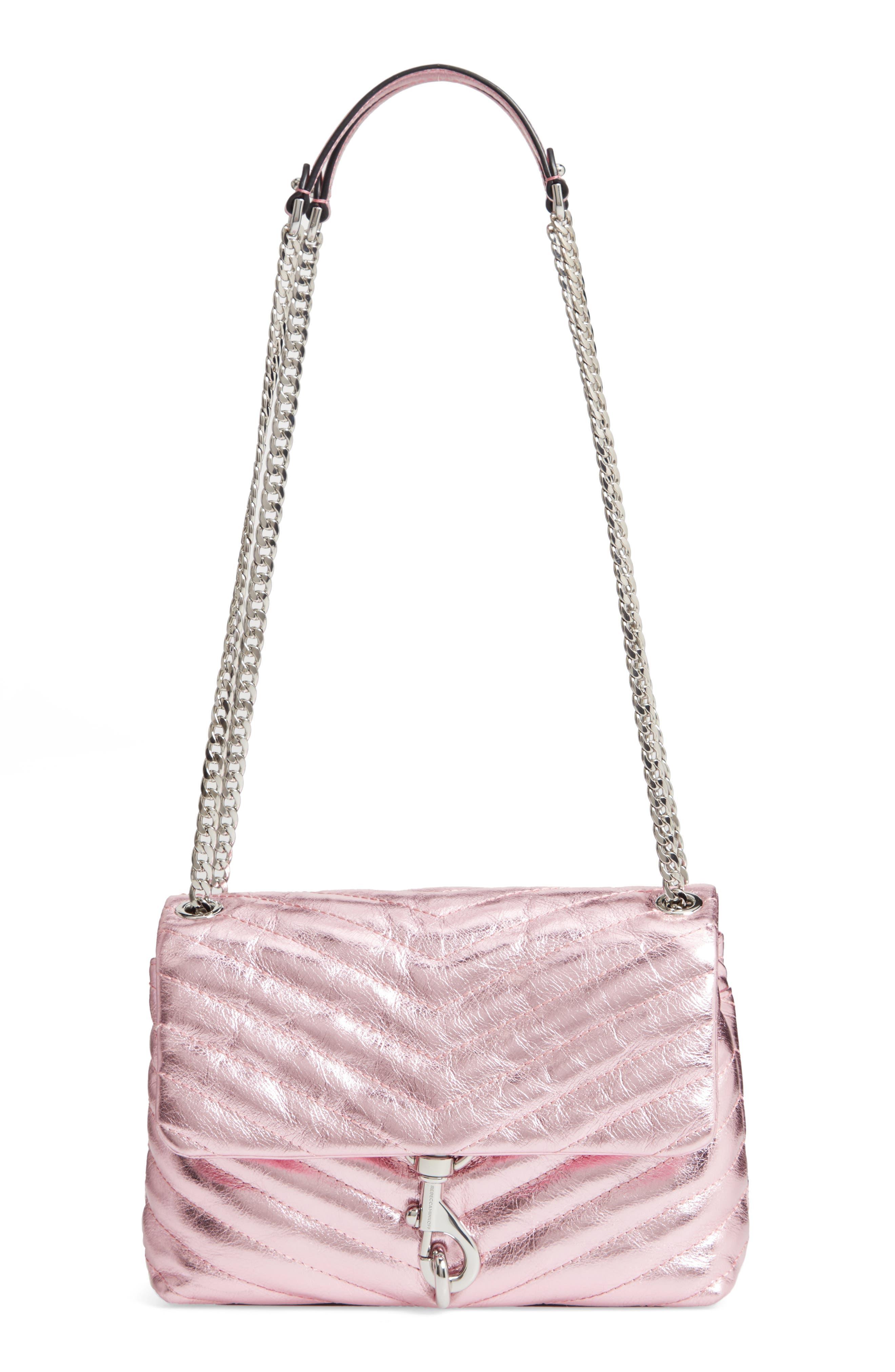Edie Metallic Leather Shoulder Bag - Pink