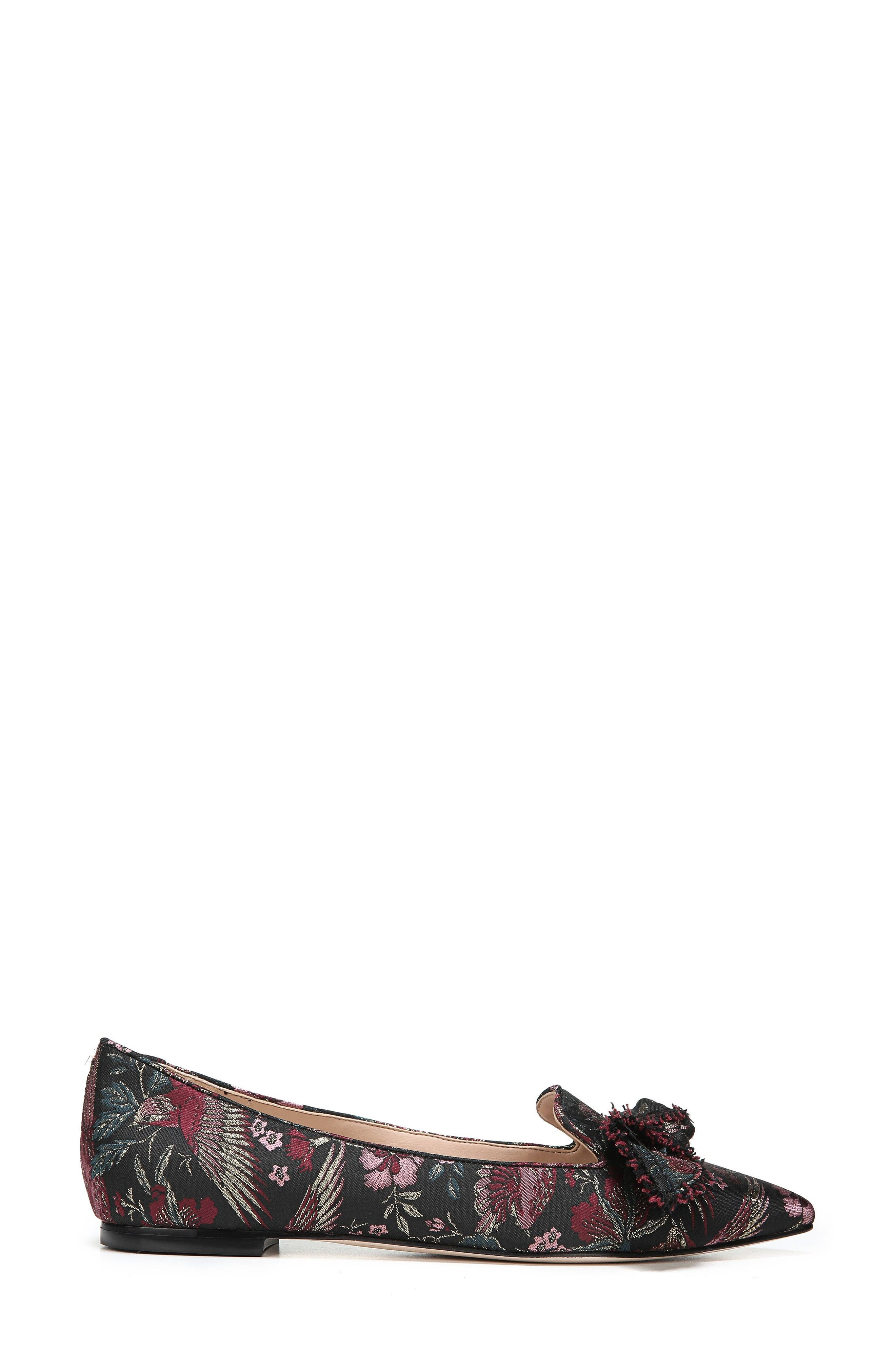 Rochester Bow Pointy Toe Flat,                             Alternate thumbnail 3, color,                             002