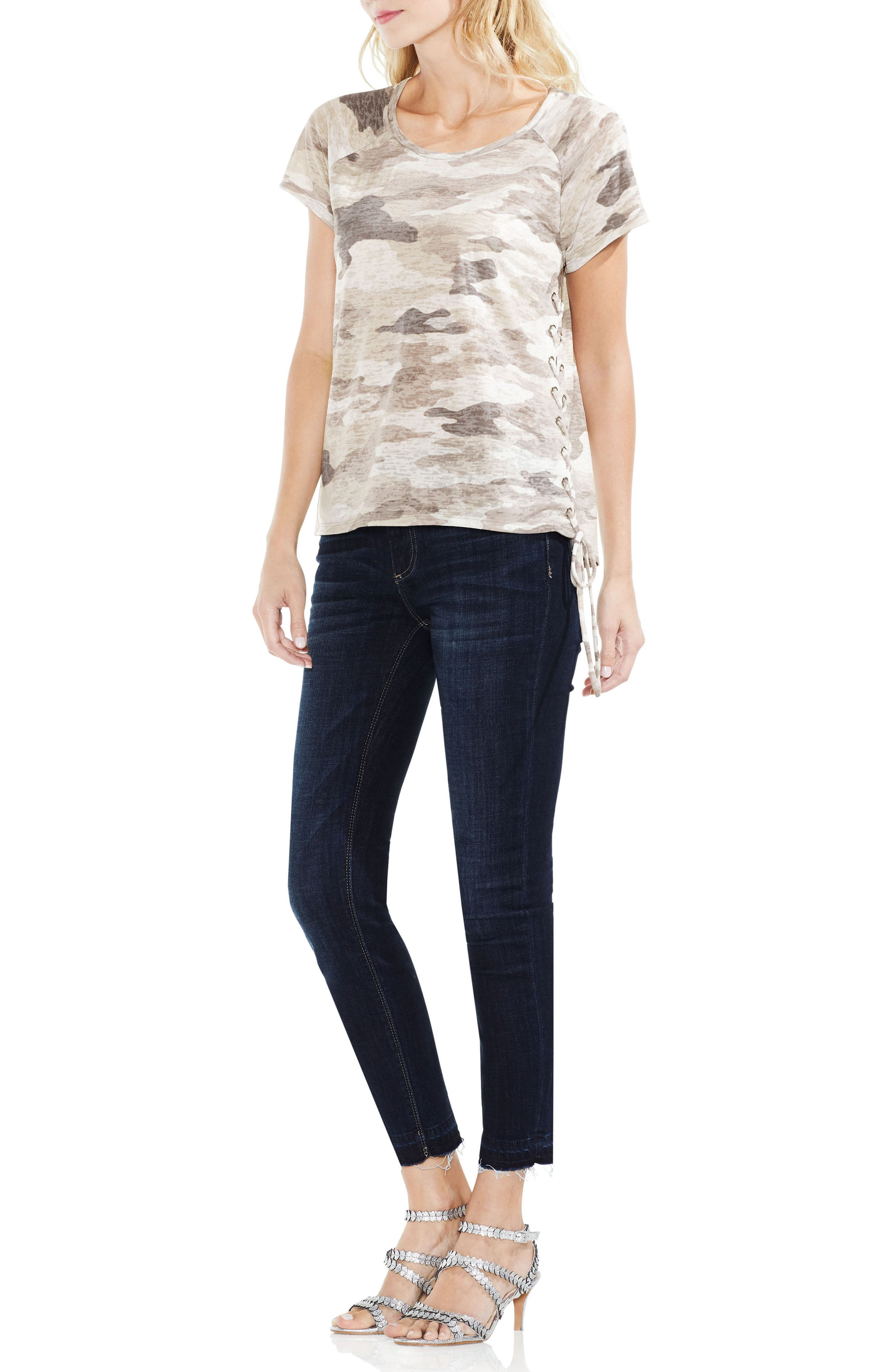 Avenue Camo Lace-Up Top,                             Alternate thumbnail 4, color,                             364