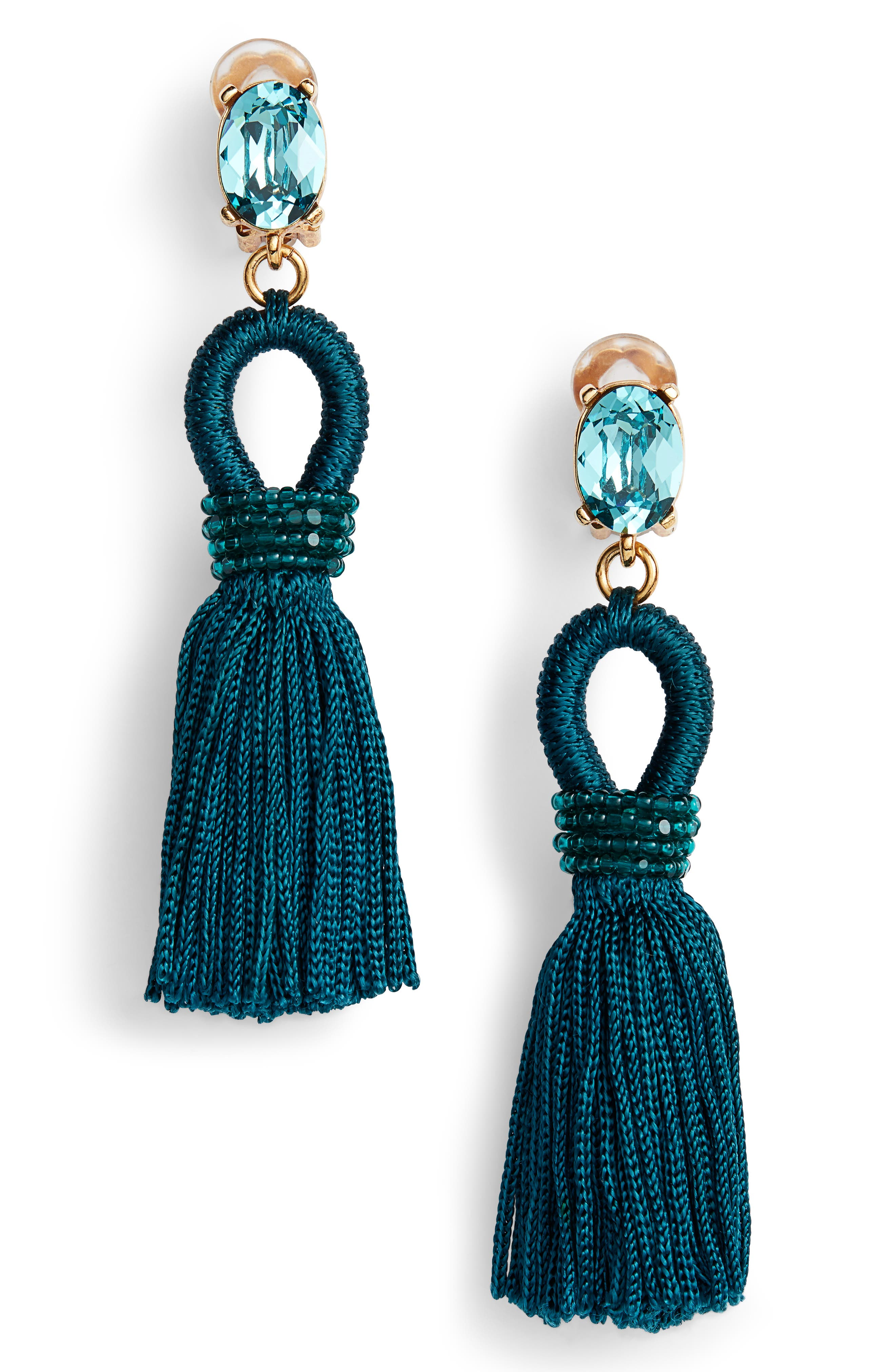 Silk Tassel Drop Earrings,                         Main,                         color,