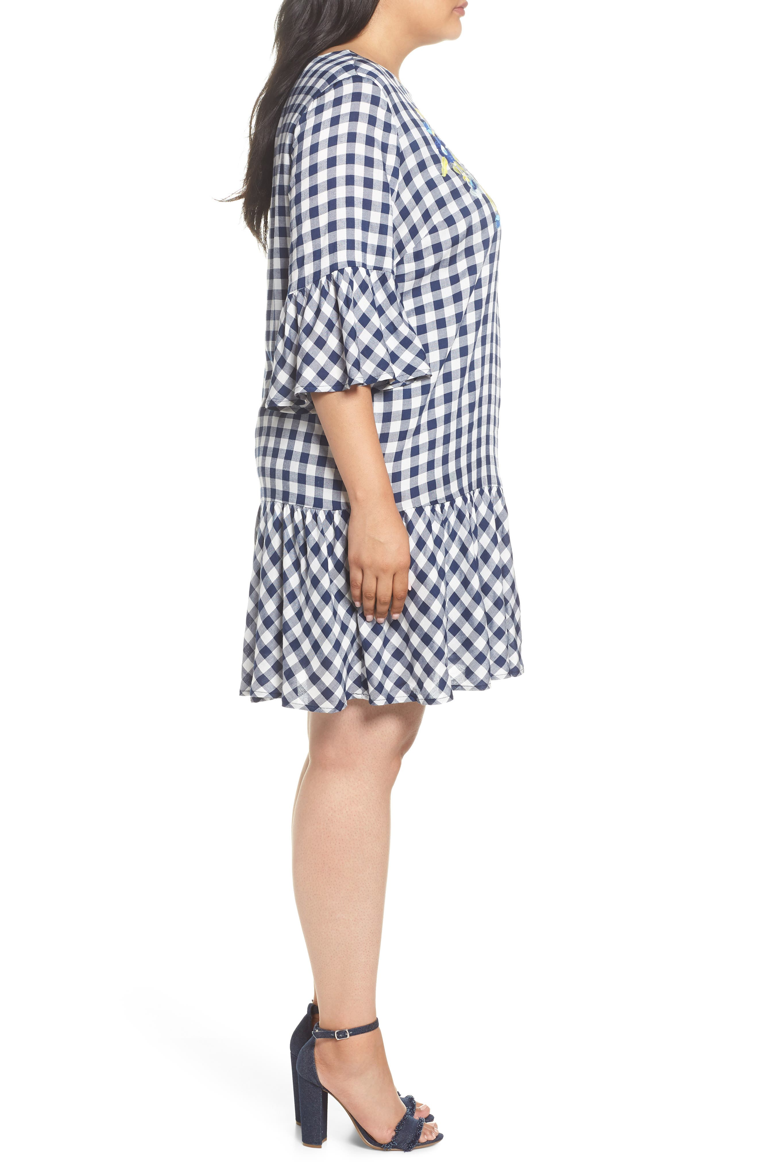 Embroidered Check Shift Dress,                             Alternate thumbnail 3, color,                             411