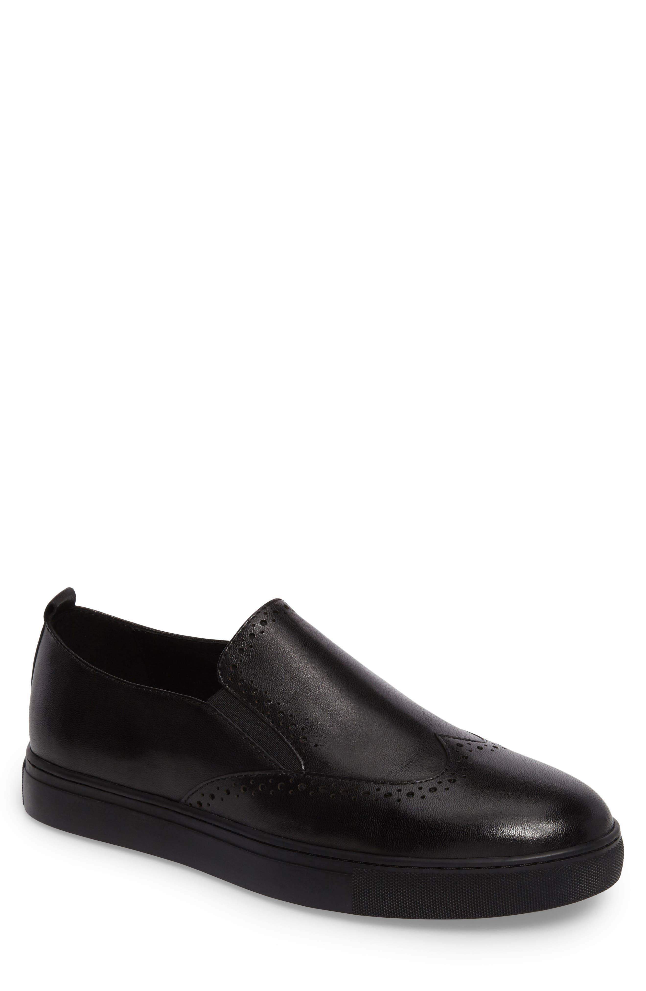 Bacher Wingtip Slip-On Sneaker,                             Main thumbnail 1, color,                             001