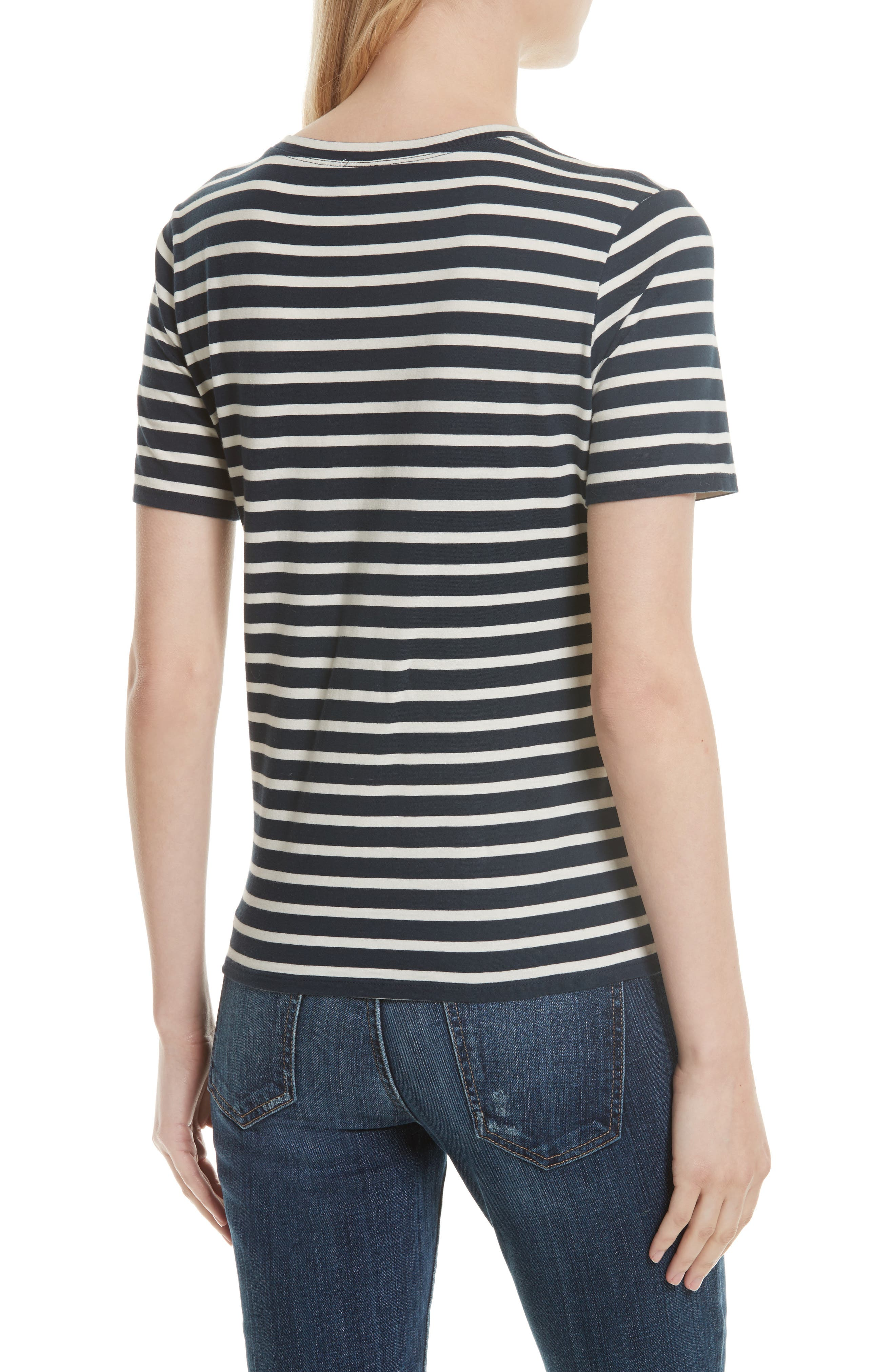 The Modern Stripe Cotton Tee,                             Alternate thumbnail 2, color,                             NAVY/ CREAM