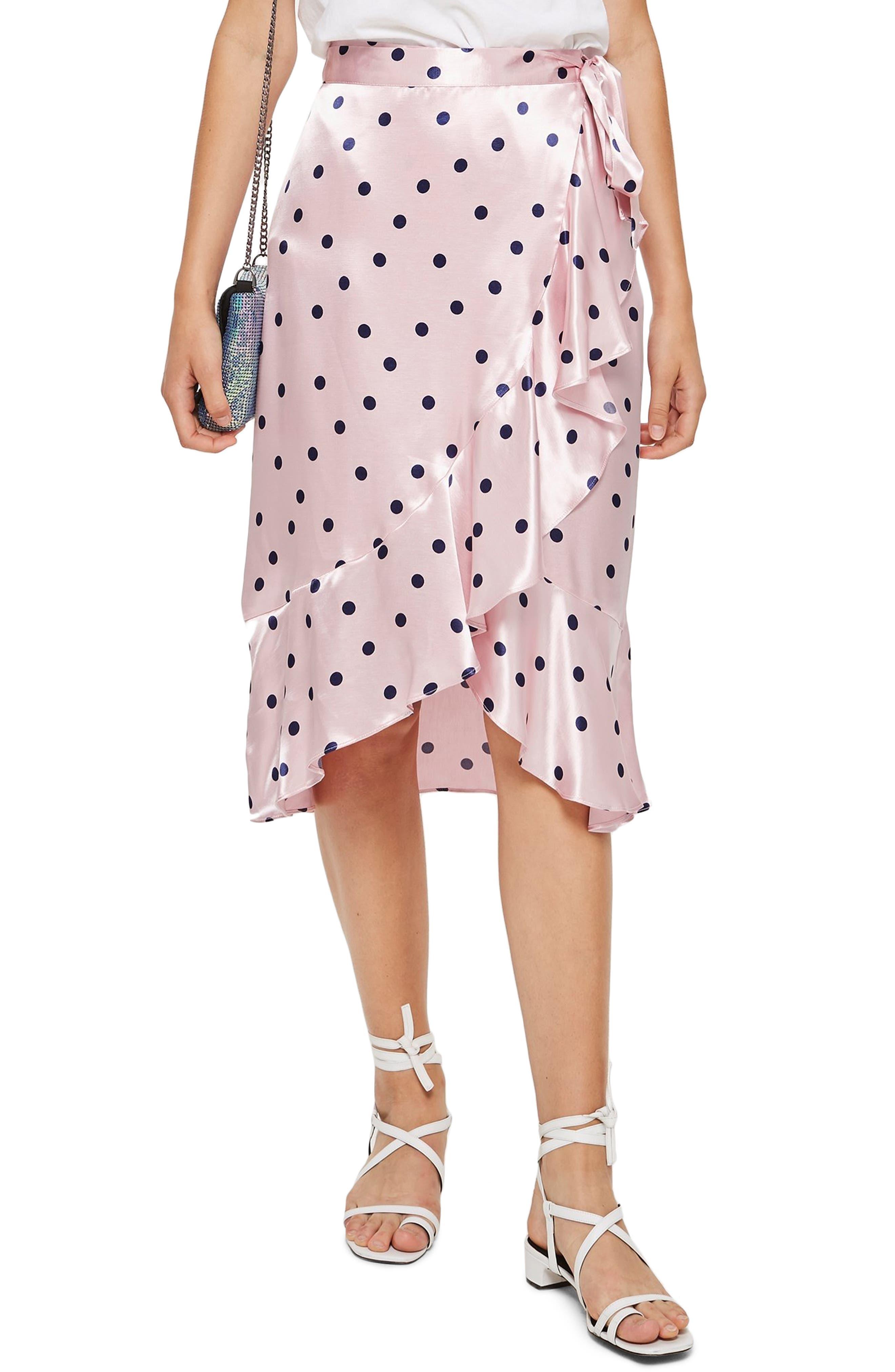 Satin Spot Ruffle Skirt,                             Main thumbnail 1, color,                             PINK MULTI