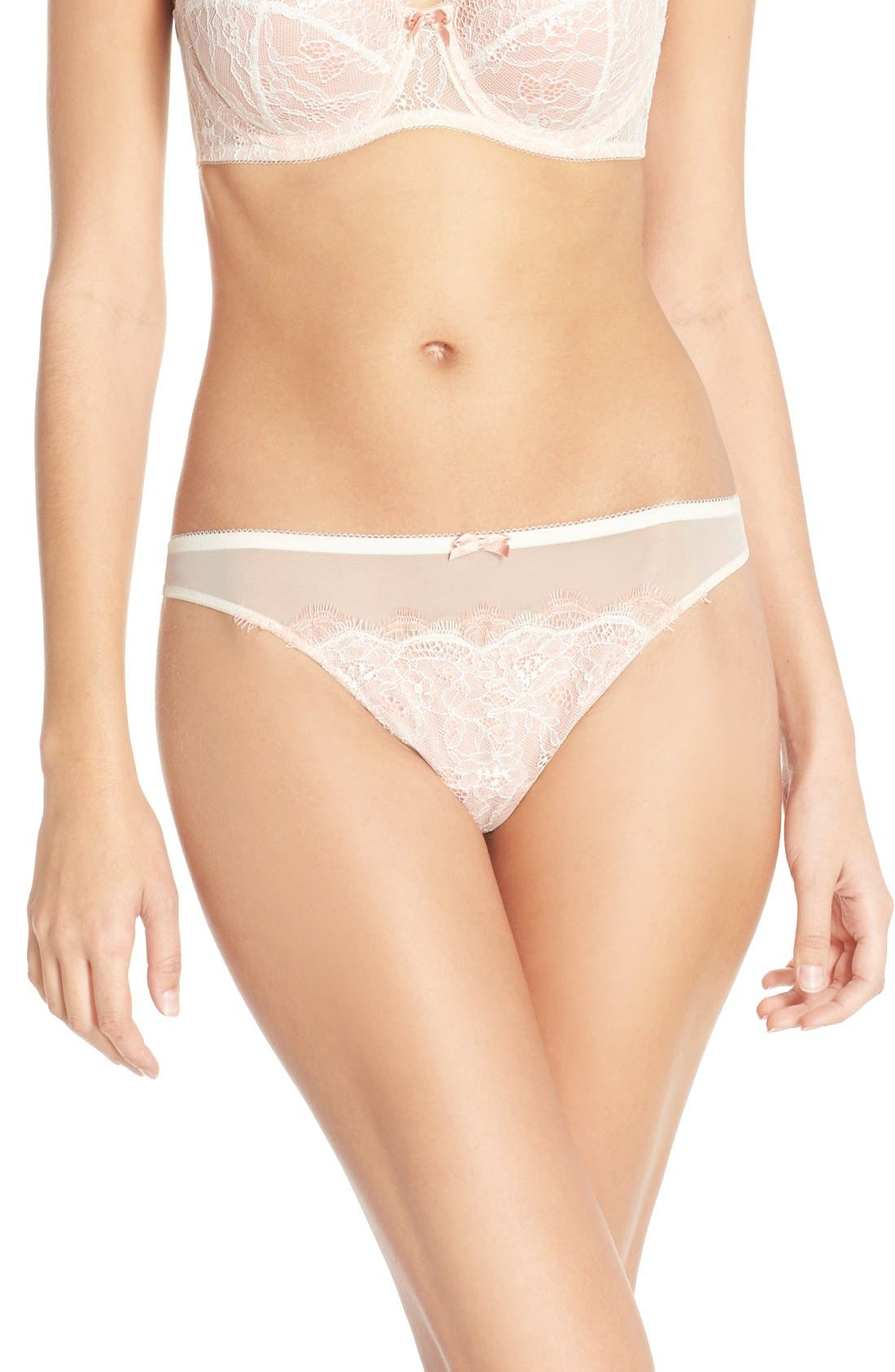 'b.sultry' Lace Front Thong,                             Main thumbnail 1, color,                             VANILLA ICE/ PEACH BEIGE