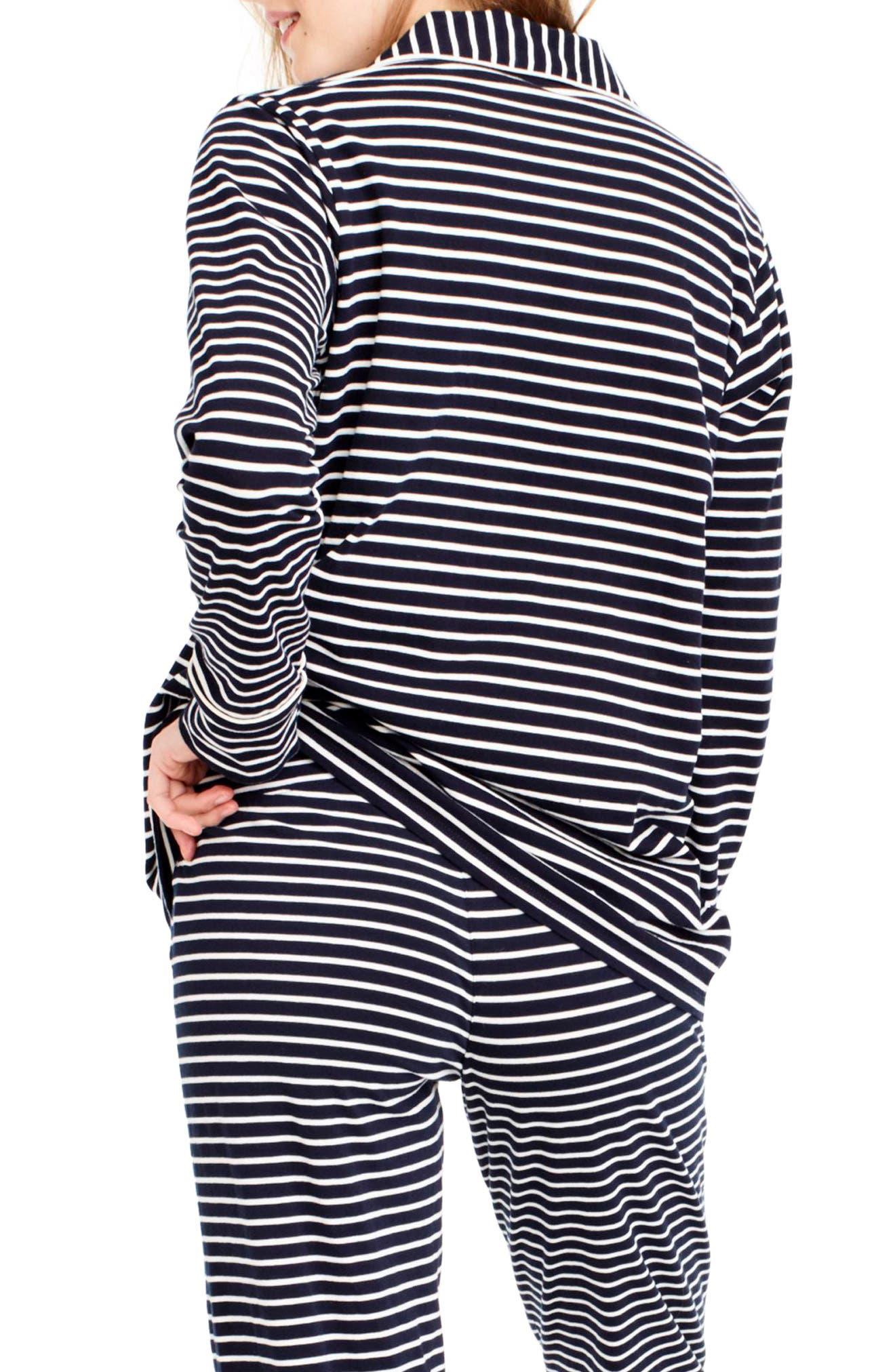 Dreamy Stripe Cotton Pajamas,                             Alternate thumbnail 2, color,                             NAVY IVORY