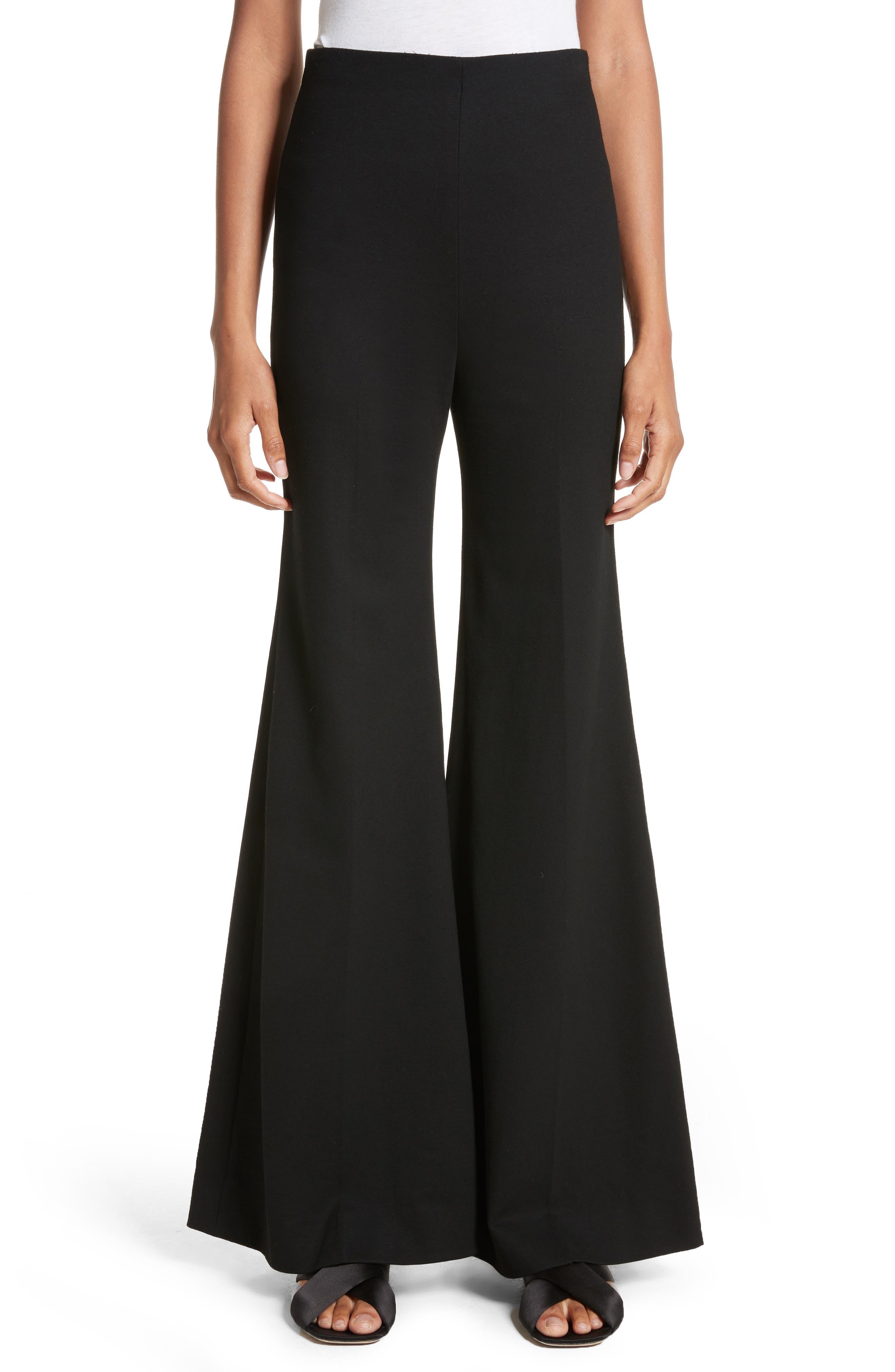 Jersey Flare Pants,                             Main thumbnail 1, color,                             BLACK