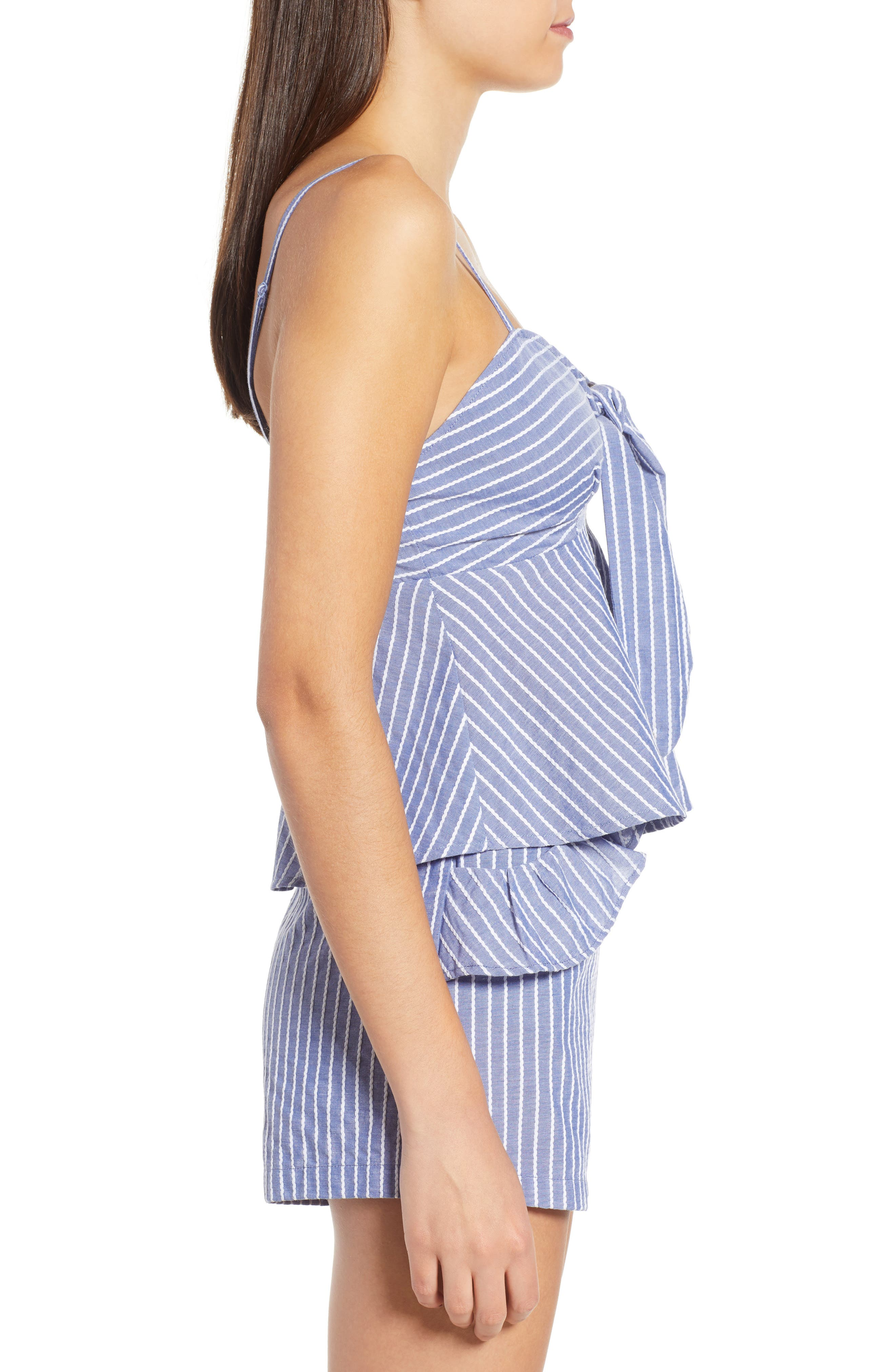 Parcel Stripe Tie Front Tank,                             Alternate thumbnail 3, color,                             BLUE WITH WHITE