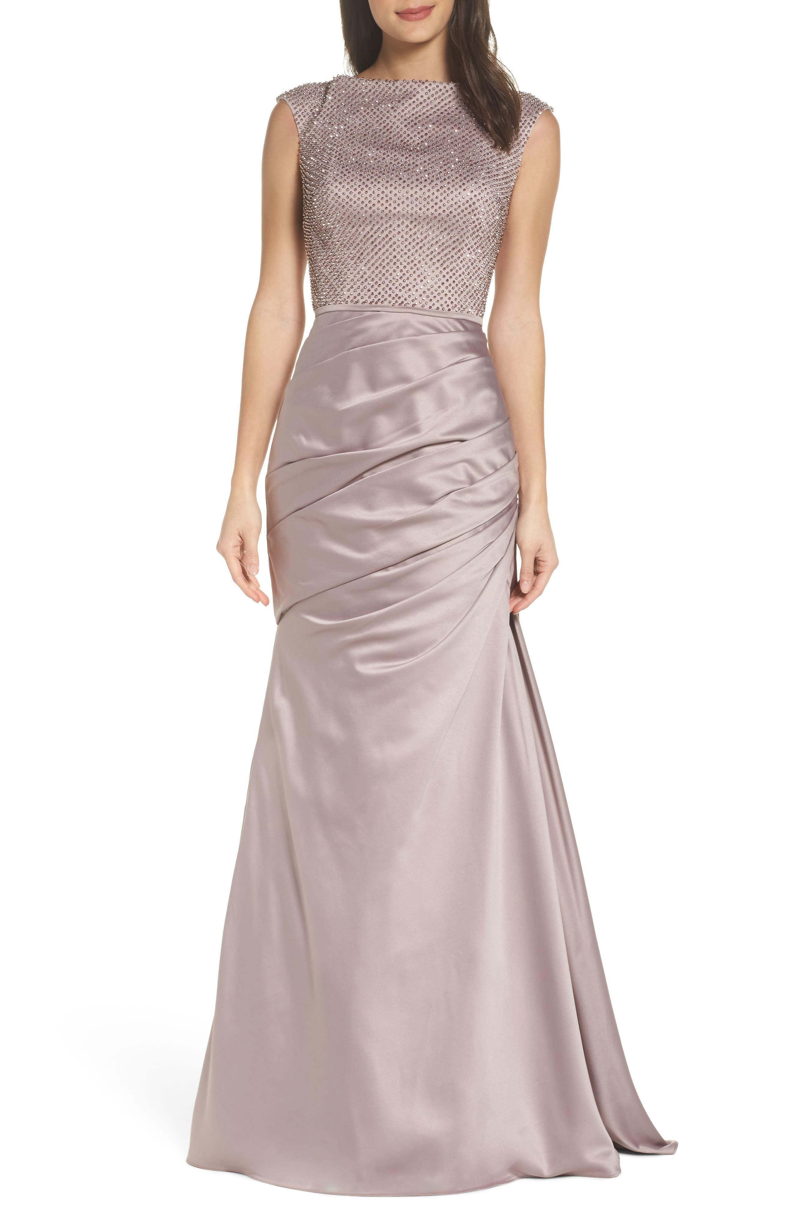 La Femme Embellished Bodice Trumpet Gown, Beige
