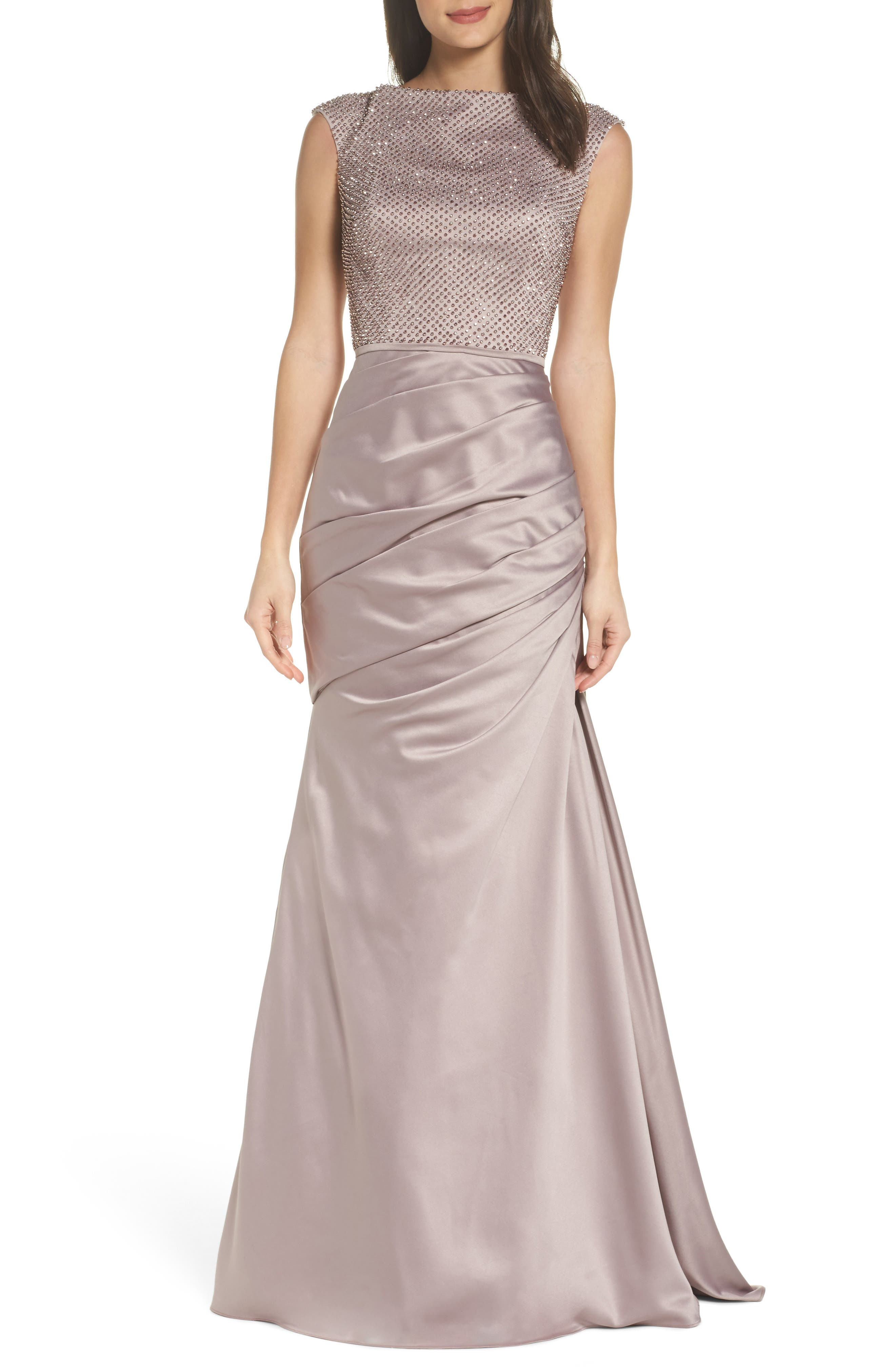 Embellished Bodice Trumpet Gown,                             Main thumbnail 1, color,                             CHAMPAGNE