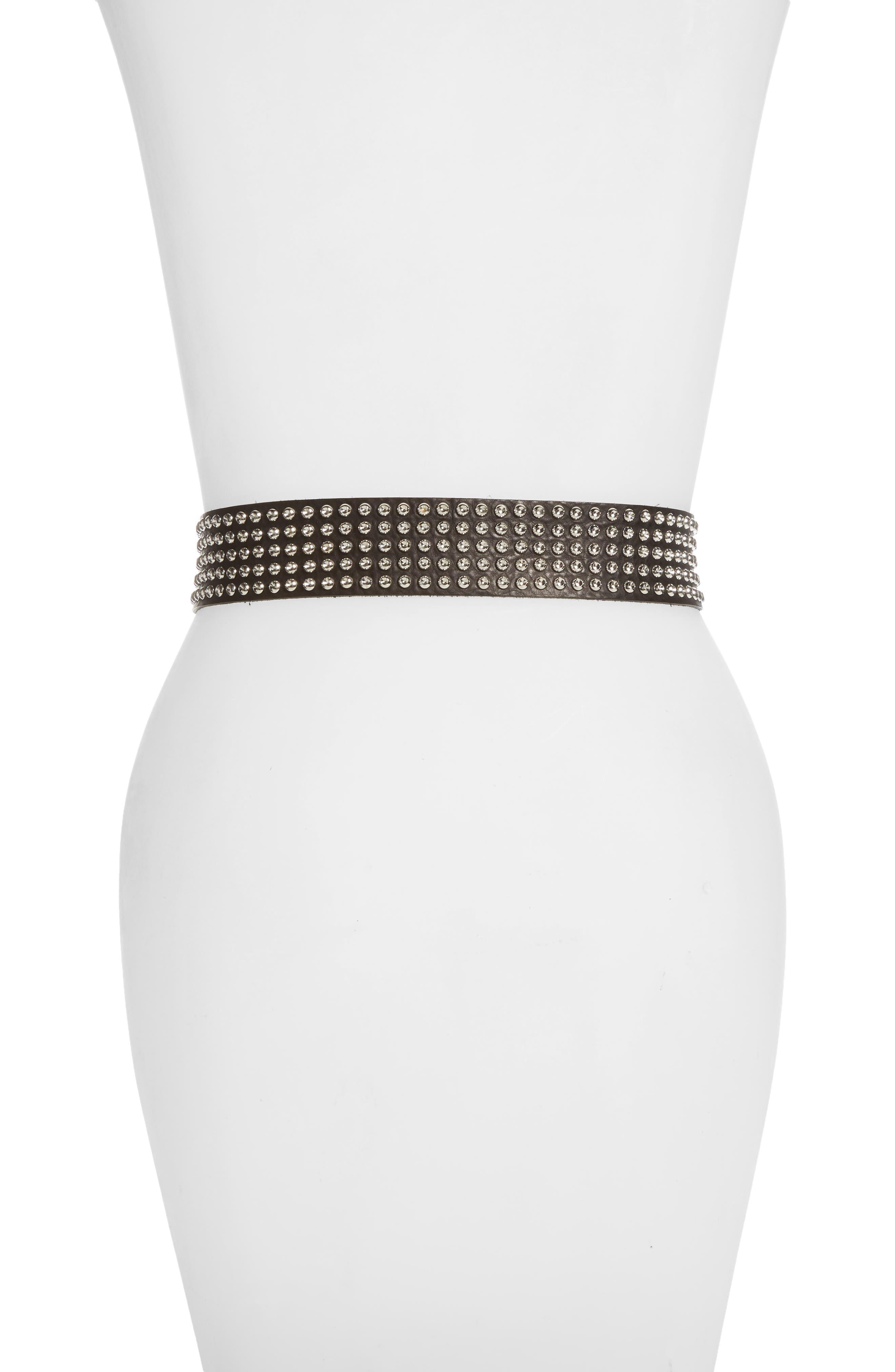 Stanka Crystal Studded Calfskin Leather Belt,                             Alternate thumbnail 2, color,                             BLACK BLA01