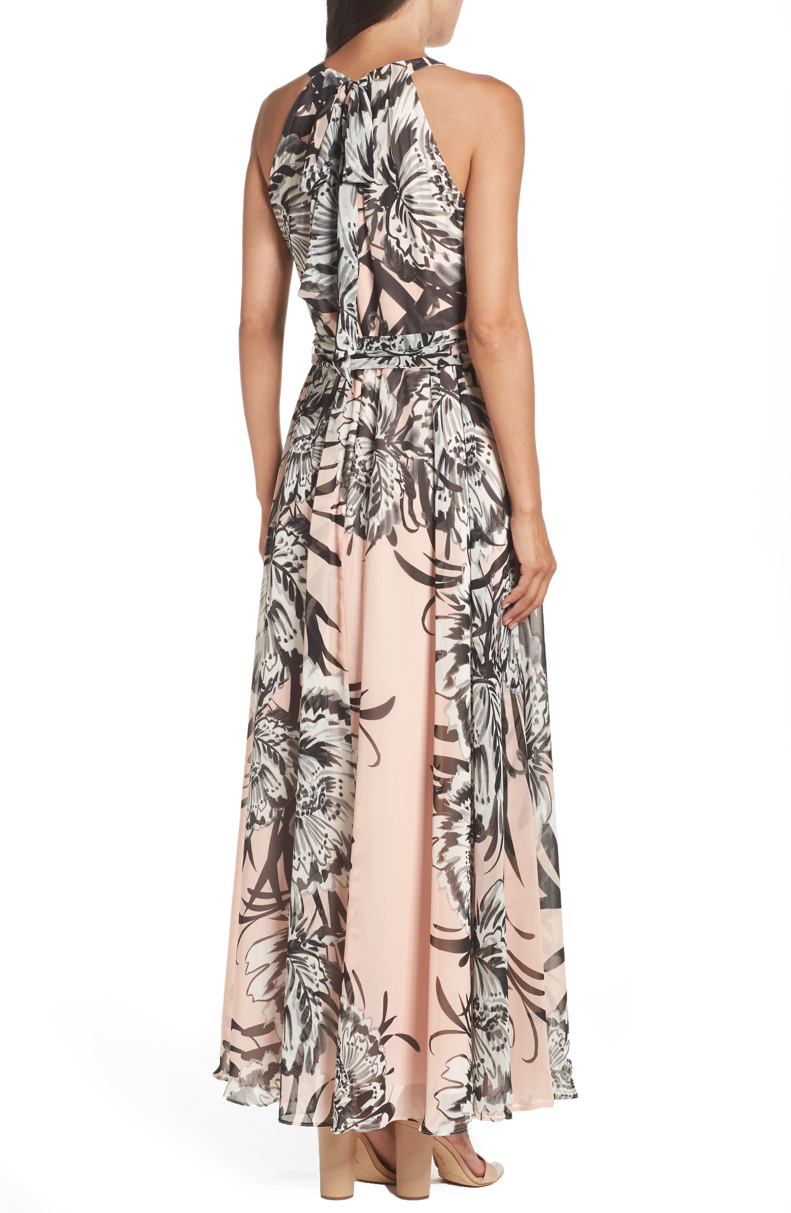 Chiffon Maxi Dress,                             Alternate thumbnail 3, color,                             BLUSH