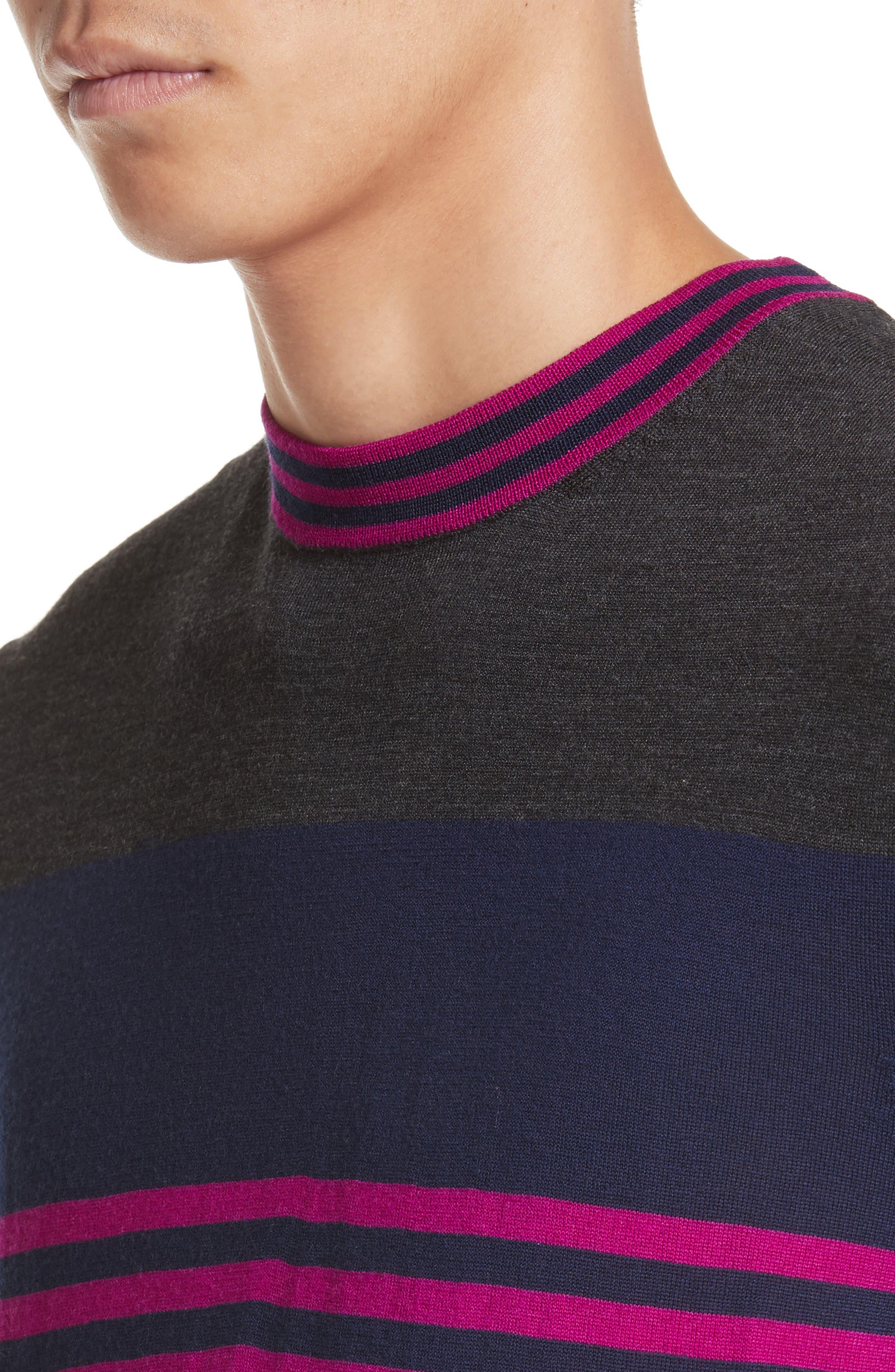 Stripe Merino Wool Crewneck Sweater,                             Alternate thumbnail 7, color,