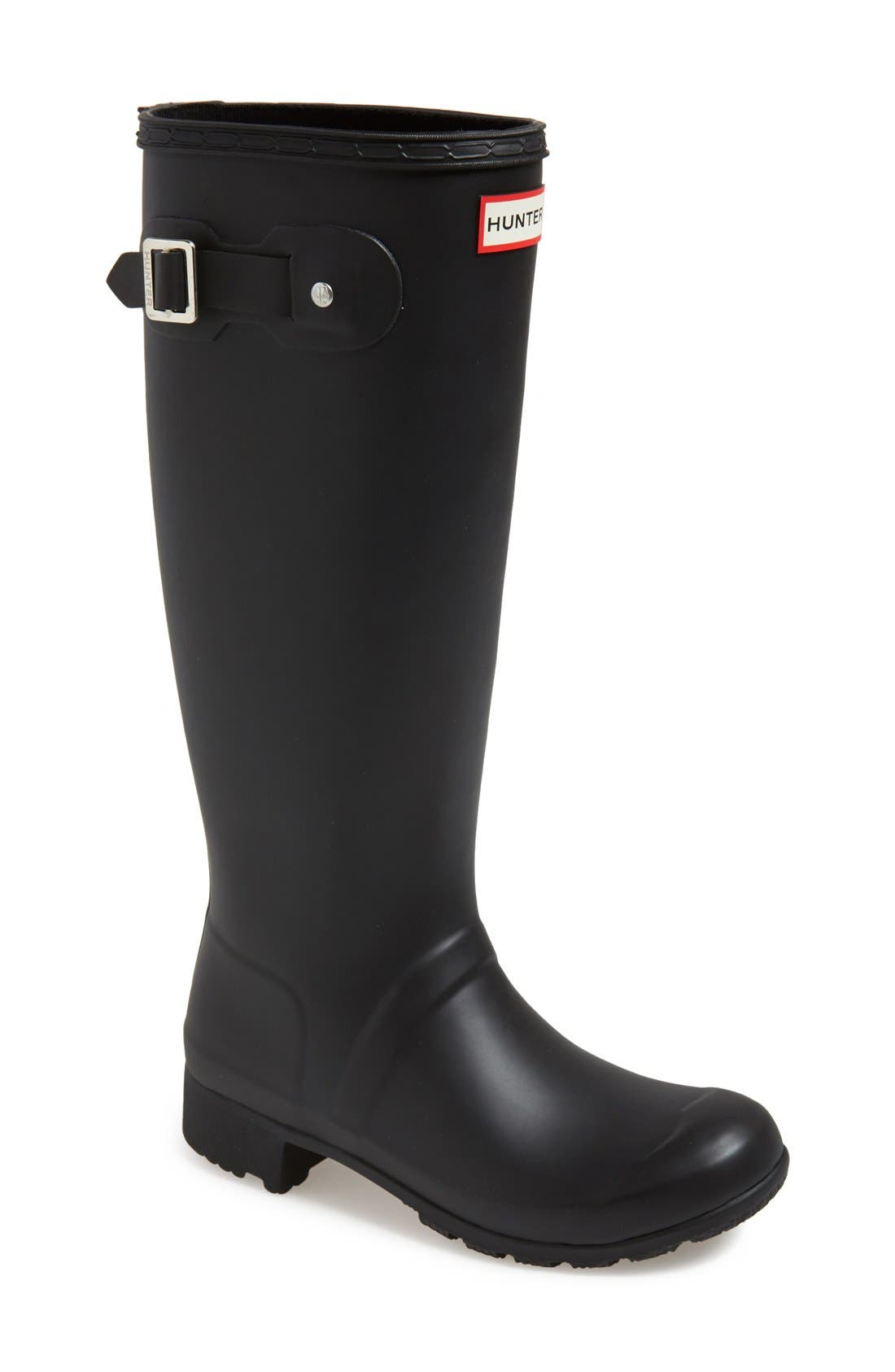 Tour Packable Rain Boot,                         Main,                         color, BLACK/ BLACK