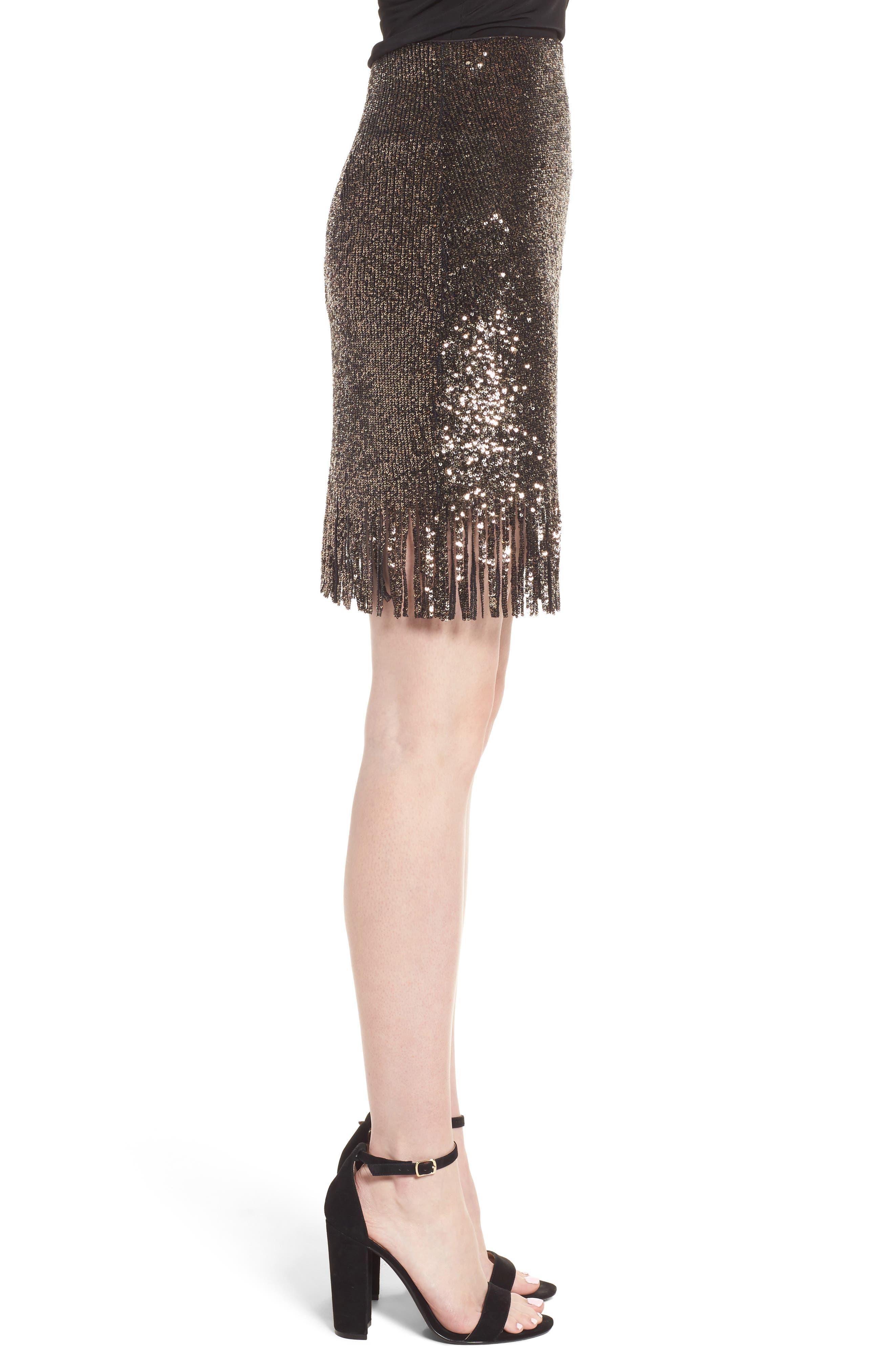 BARDOT,                             Sequin Fringe Skirt,                             Alternate thumbnail 3, color,                             710
